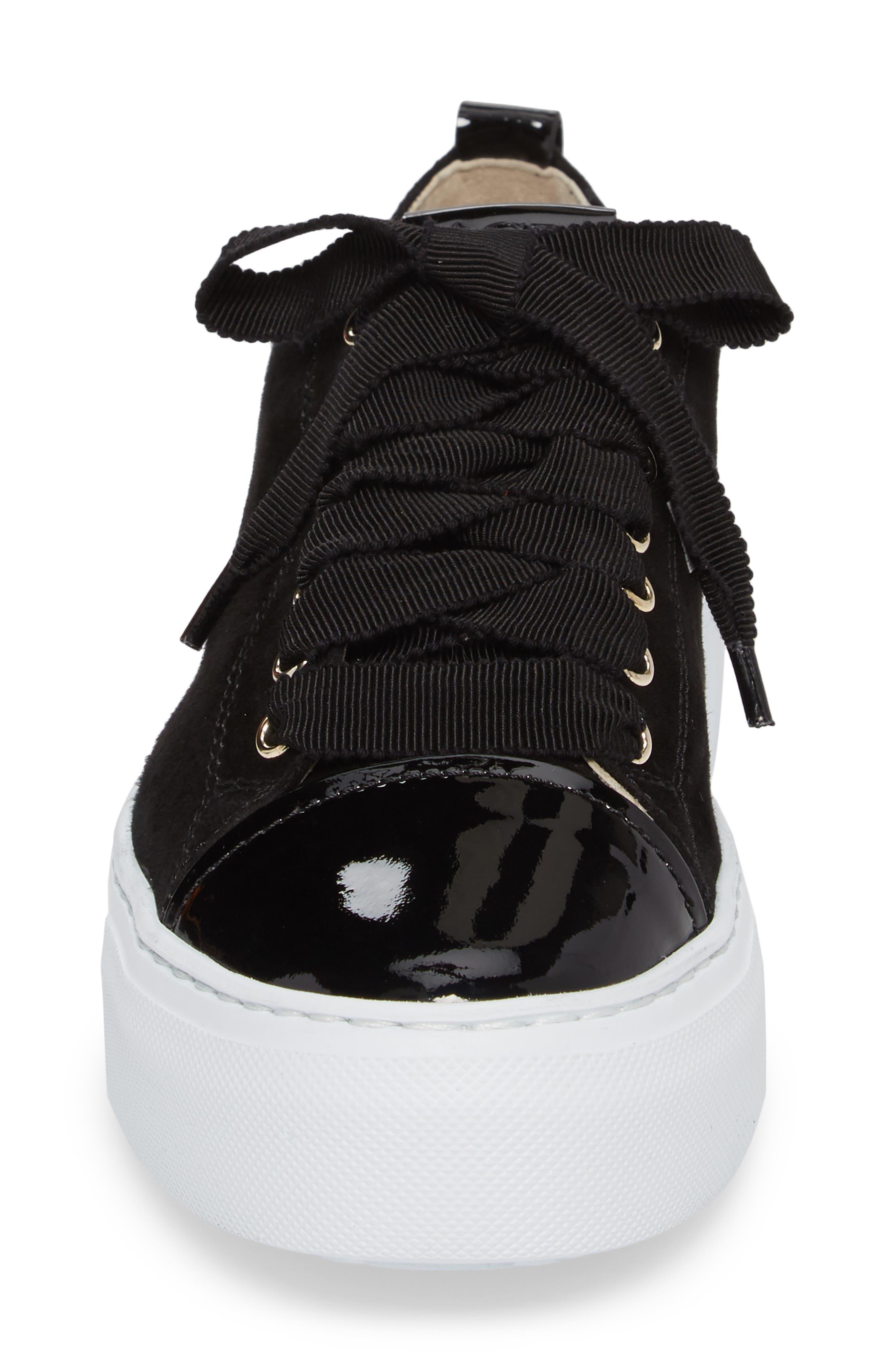 Cap Toe Platform Sneaker,                             Alternate thumbnail 4, color,                             001