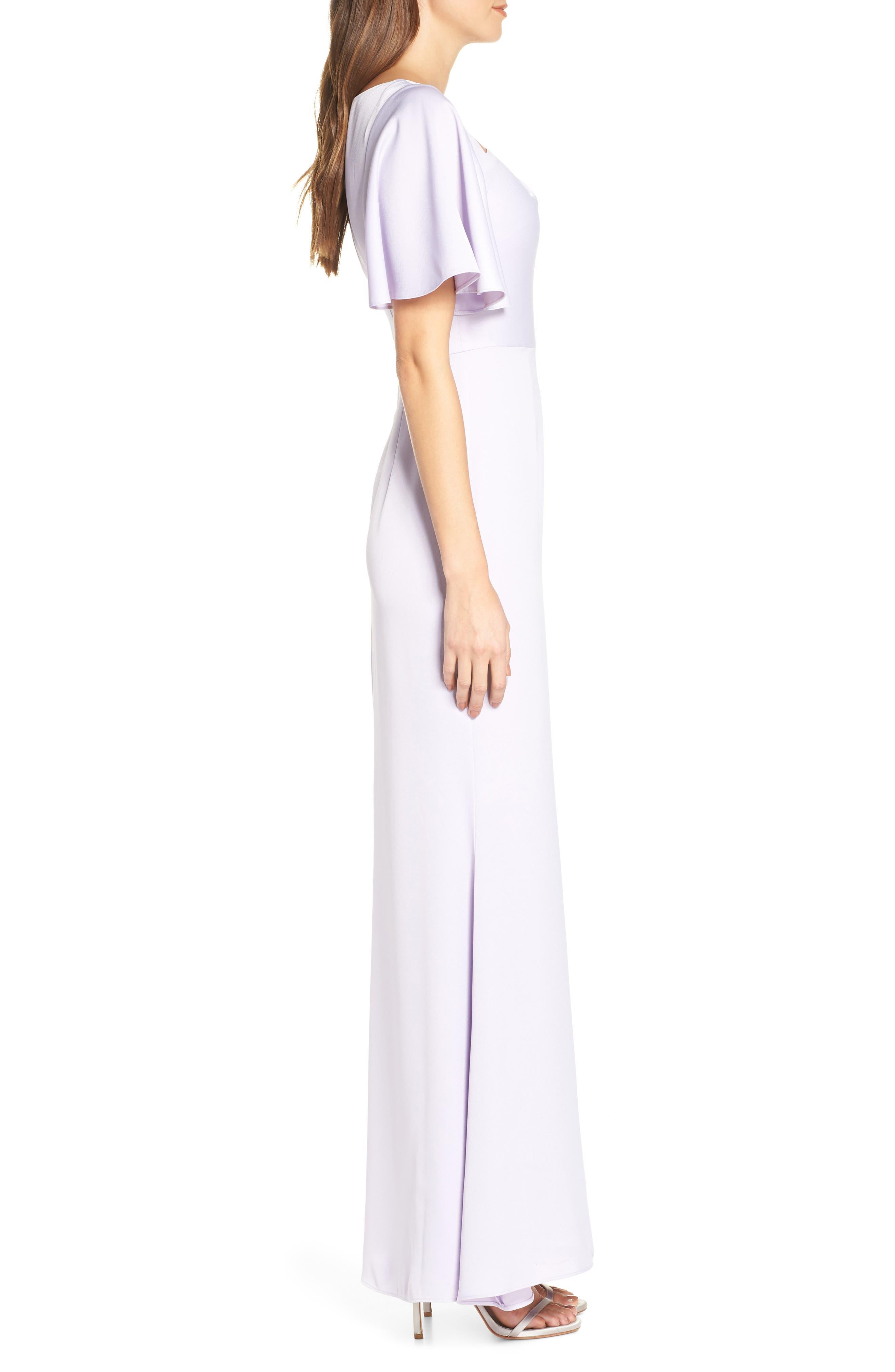 Asymmetrical Neckline Evening Dress,                             Alternate thumbnail 3, color,                             LILAC