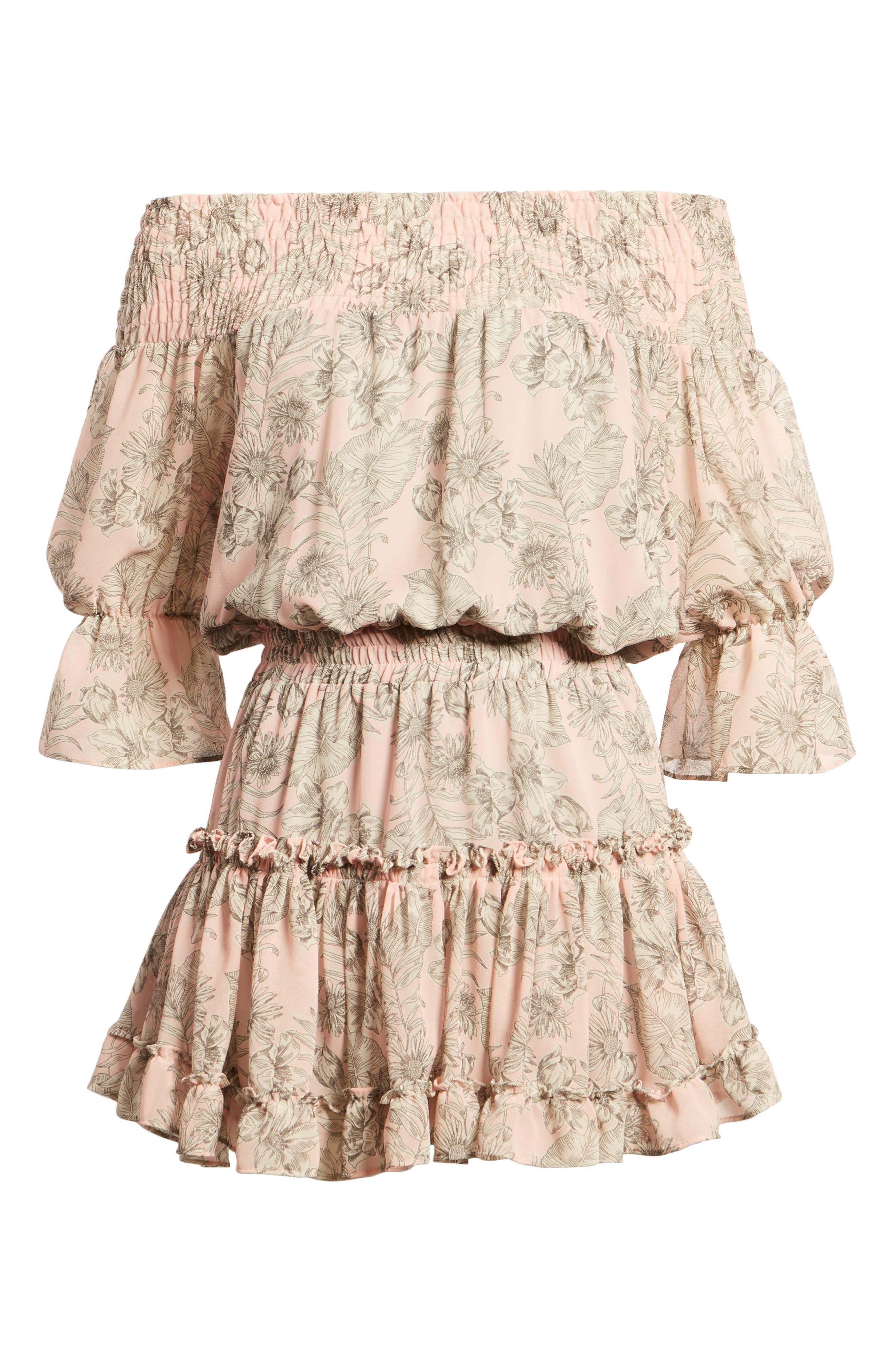 MISA LOS ANGELES,                             Geroux Off the Shoulder Blouson Dress,                             Alternate thumbnail 7, color,                             650