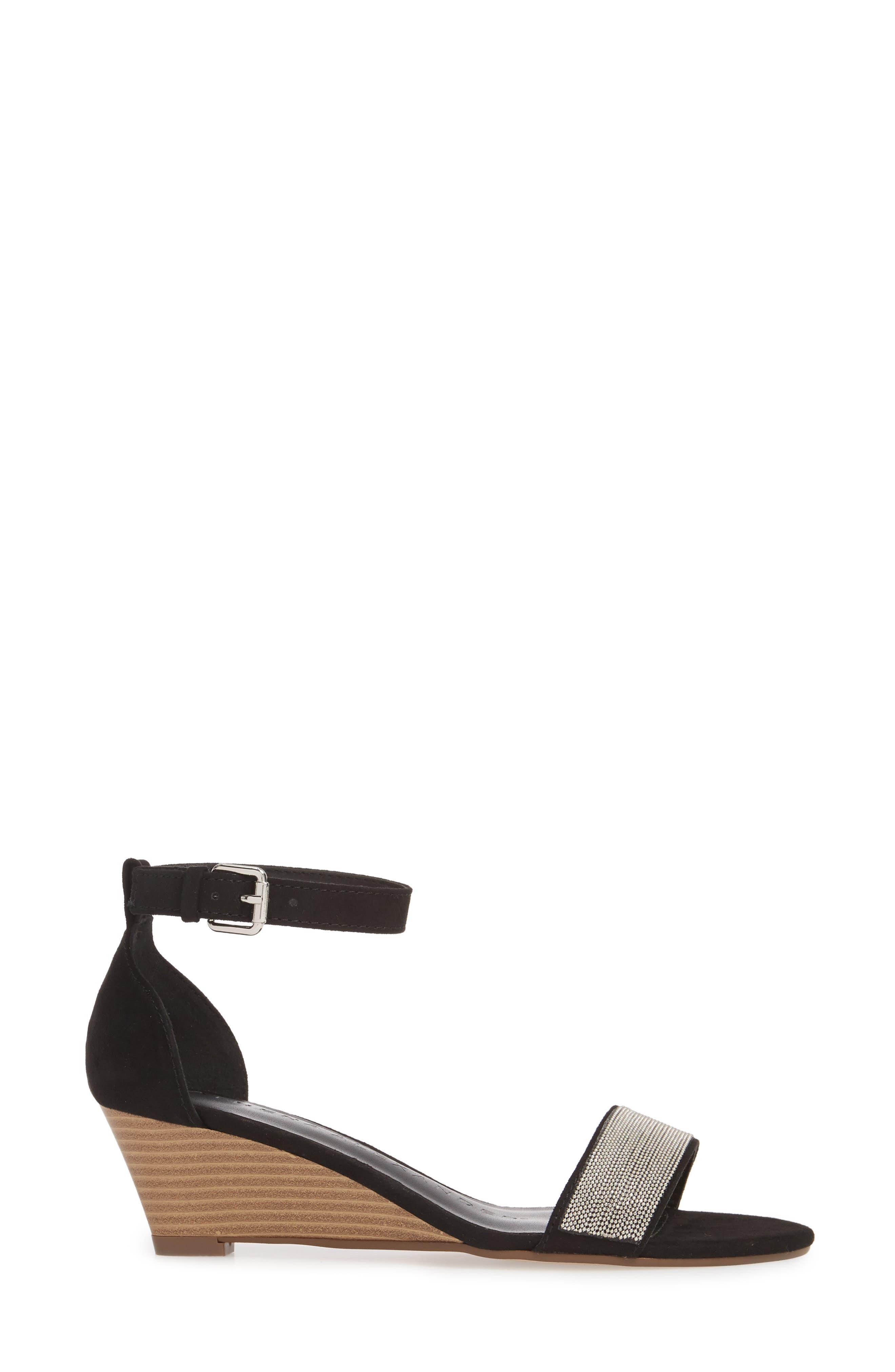 Enfield Ankle Strap Wedge Sandal,                             Alternate thumbnail 3, color,                             003