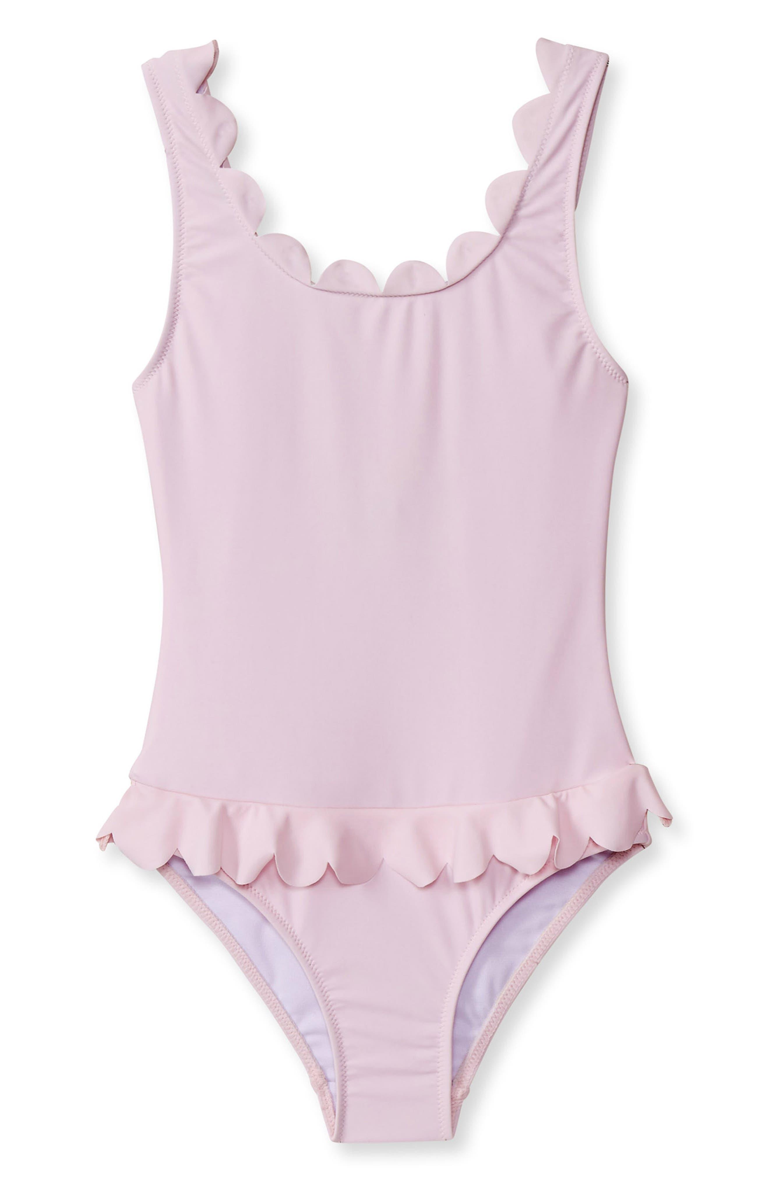 Scallop Trim One-Piece Swimsuit,                             Main thumbnail 1, color,                             PINK