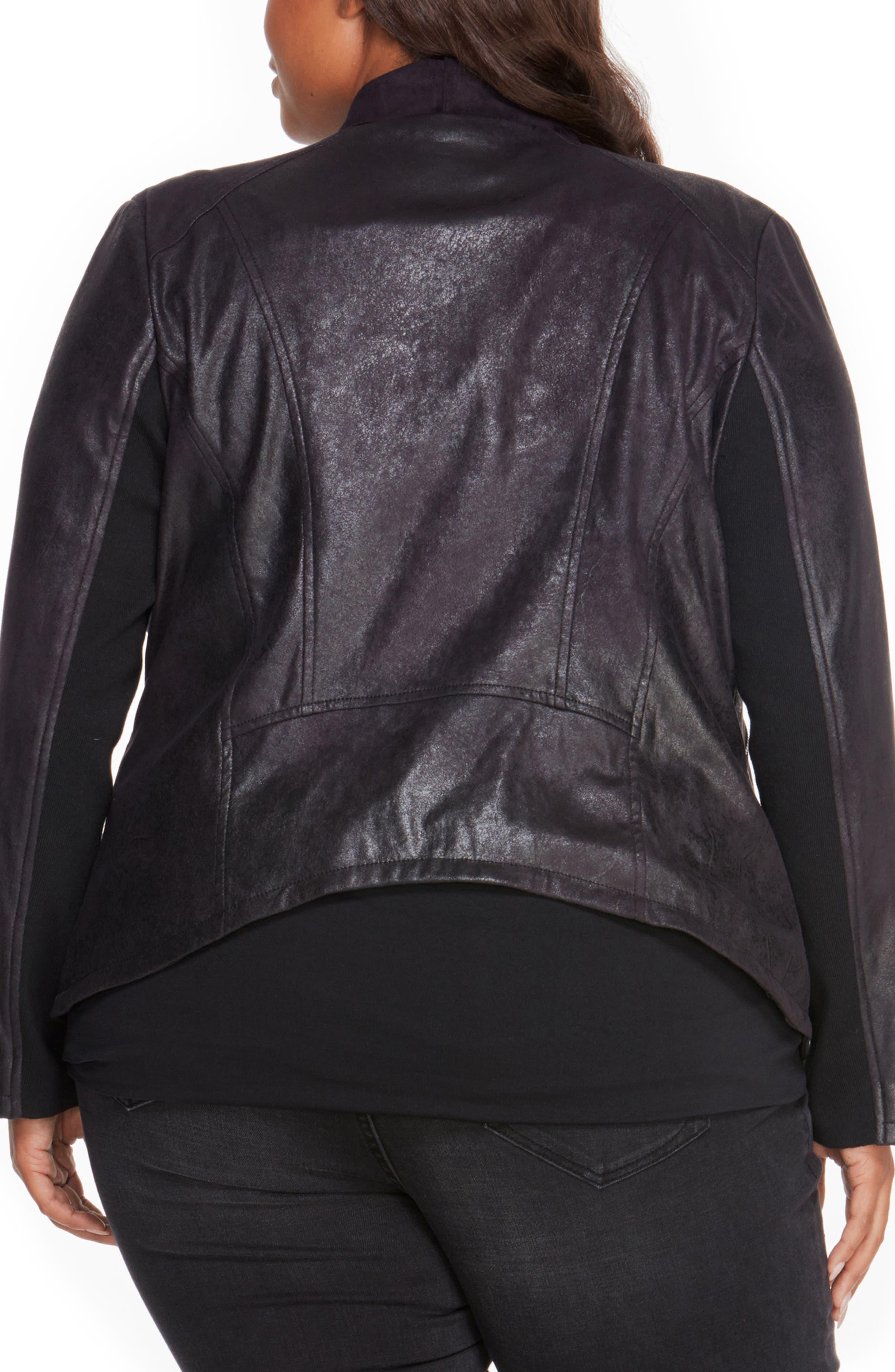 Asymmetrical Faux Leather Jacket,                             Alternate thumbnail 2, color,                             001