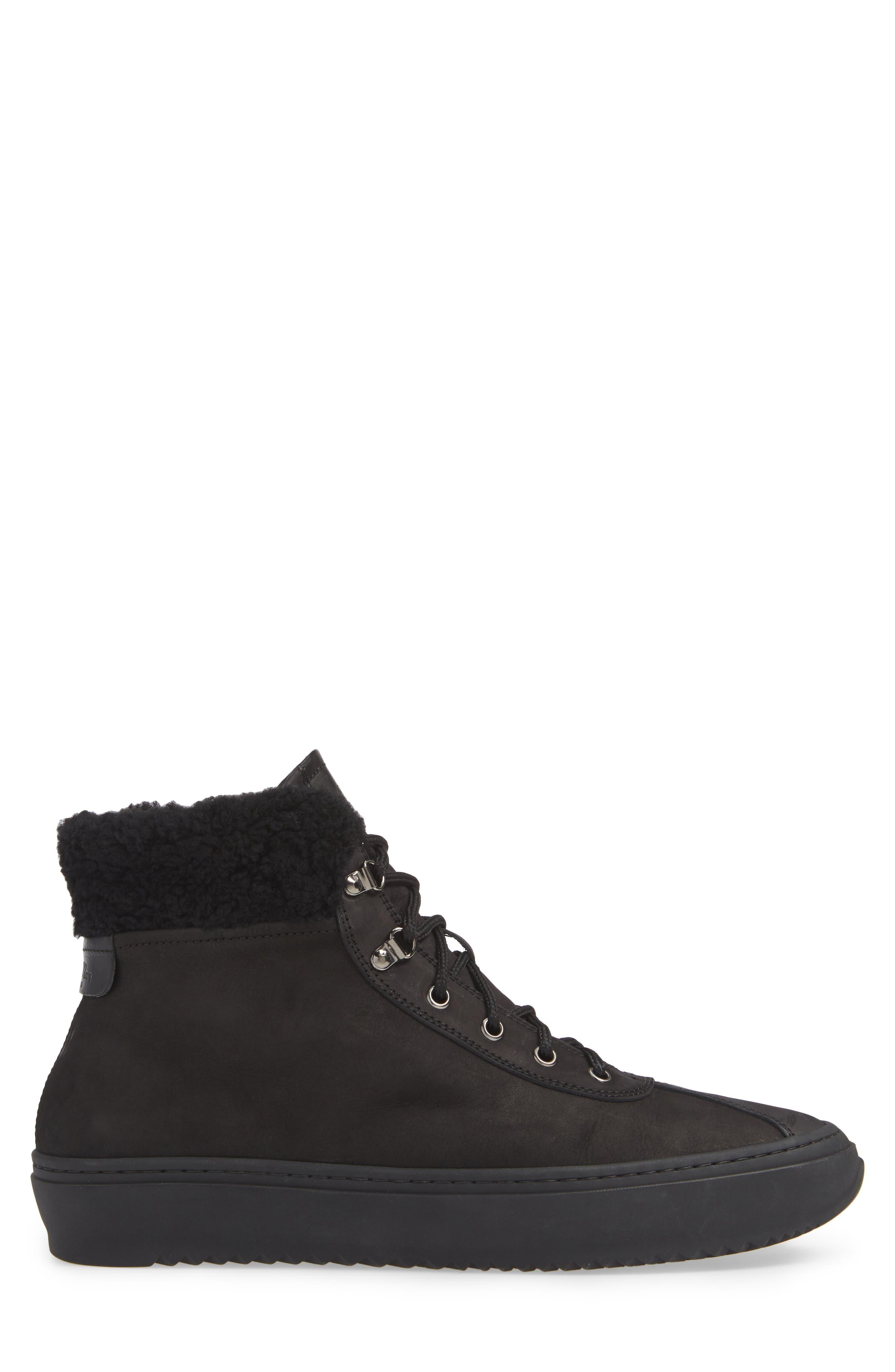 Hiker Street Sneaker,                             Alternate thumbnail 3, color,                             BLACK LEATHER