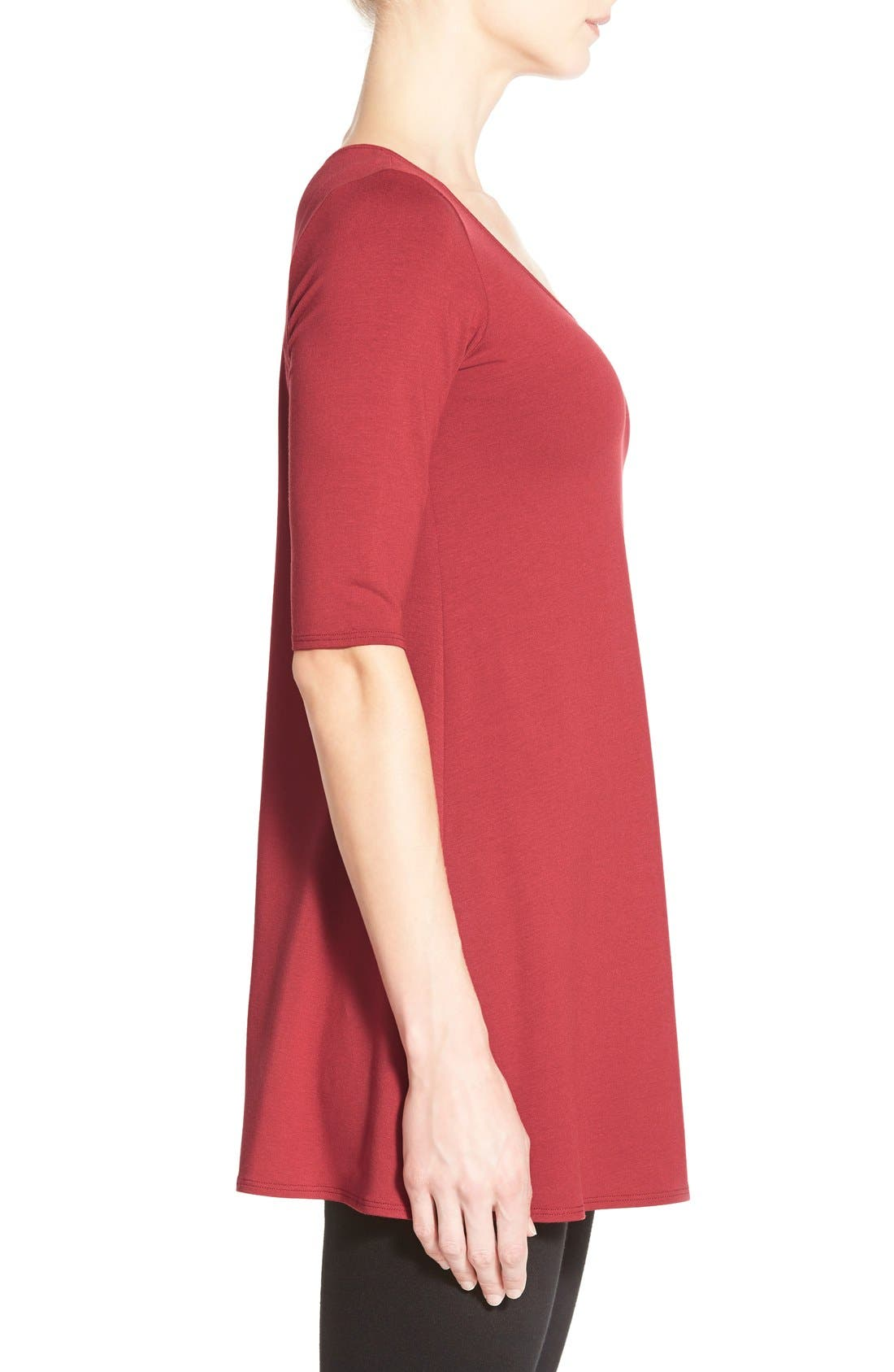 Scoop Neck Elbow Sleeve Jersey Tunic,                             Alternate thumbnail 34, color,