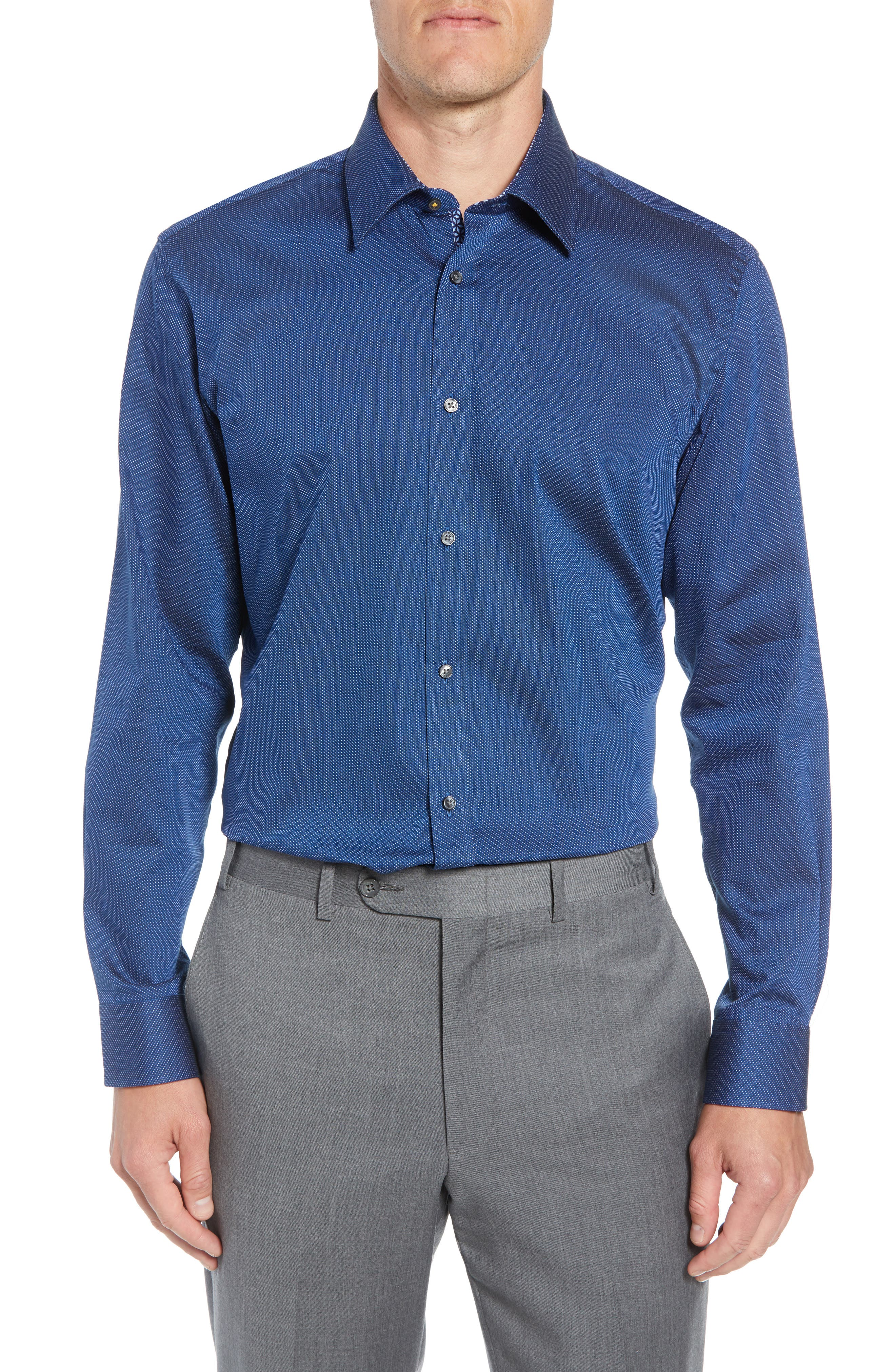 TED BAKER LONDON Wikks Slim Fit Print Dress Shirt, Main, color, 410