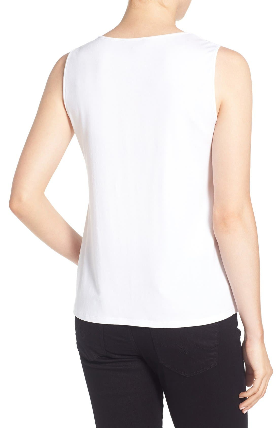 Lightweight Jersey Round Neck Tank,                             Alternate thumbnail 3, color,                             100