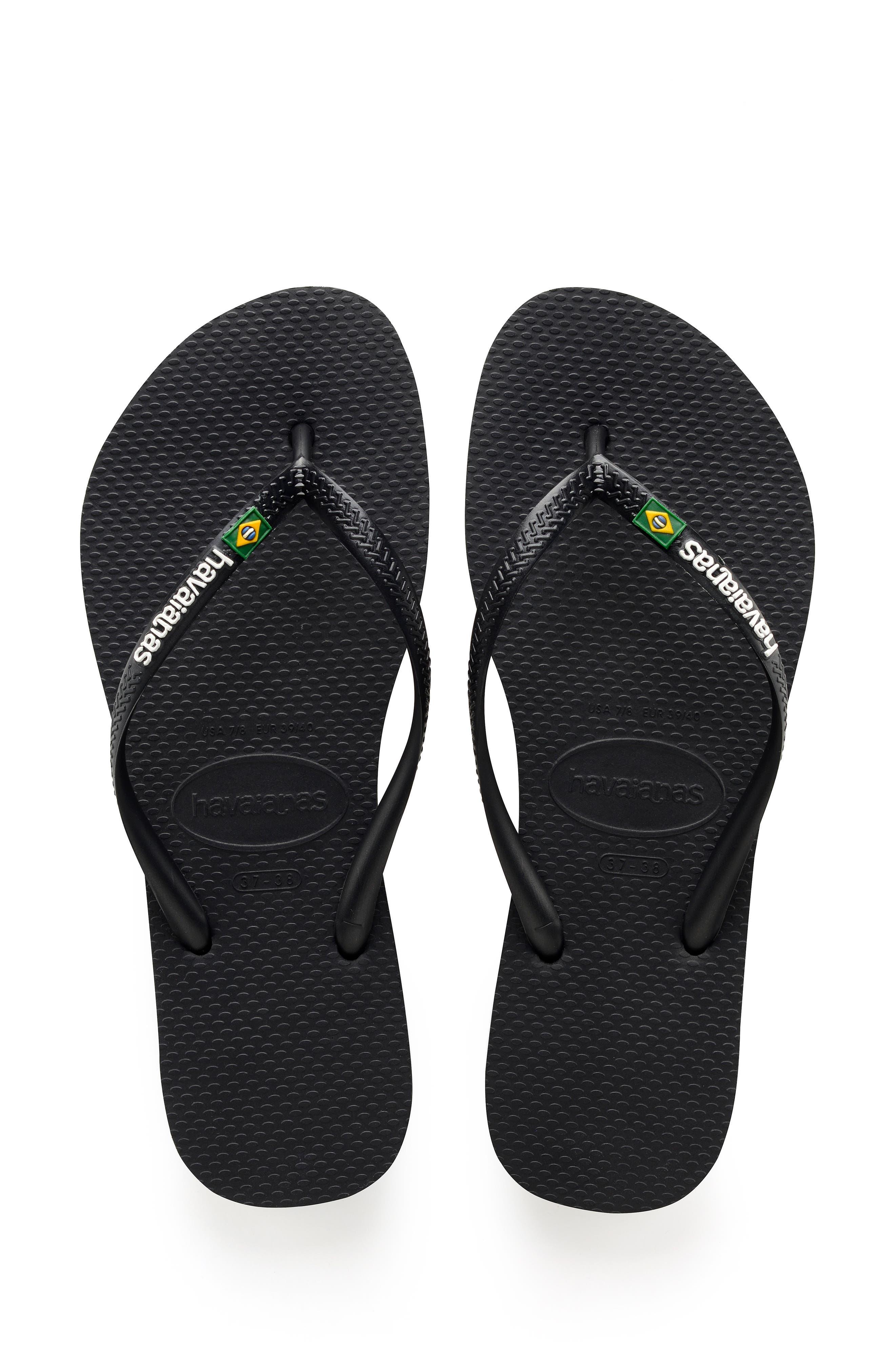 Slim Brazil Flip Flop,                             Main thumbnail 1, color,                             BLACK