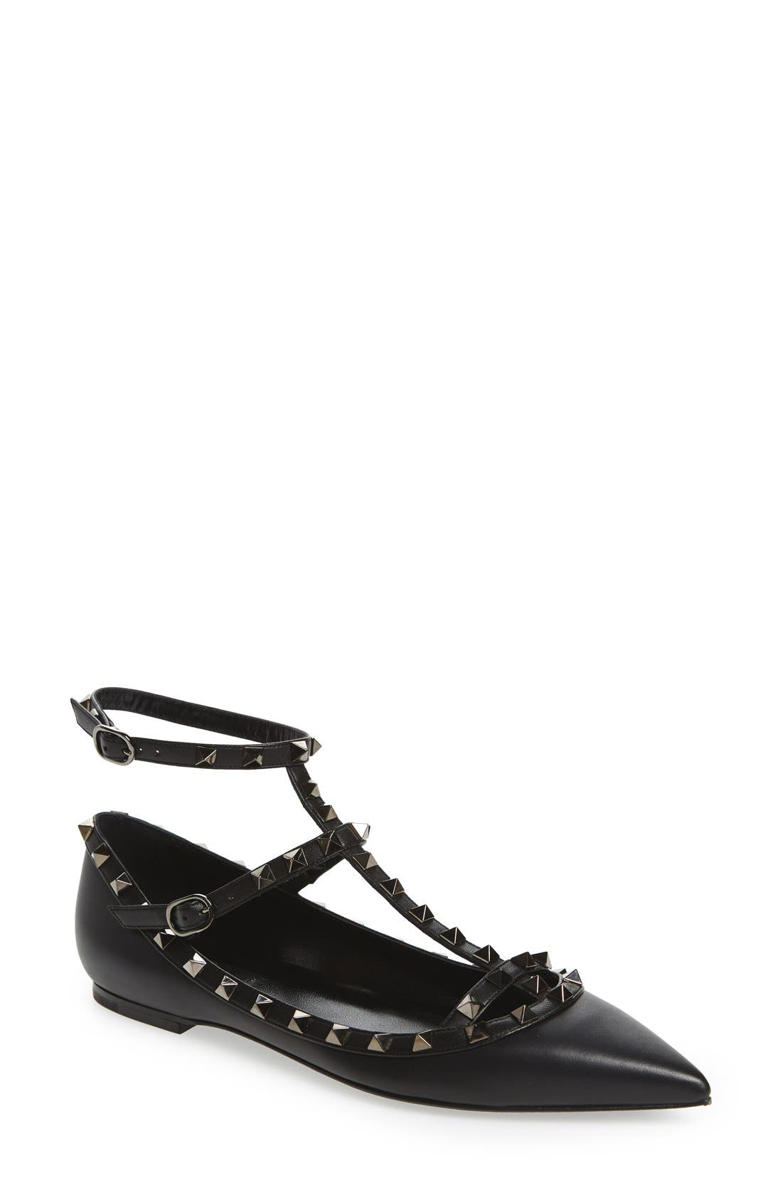 'Rockstud' Double Ankle Strap Pointy Toe Flat,                             Main thumbnail 1, color,                             BLACK LEATHER