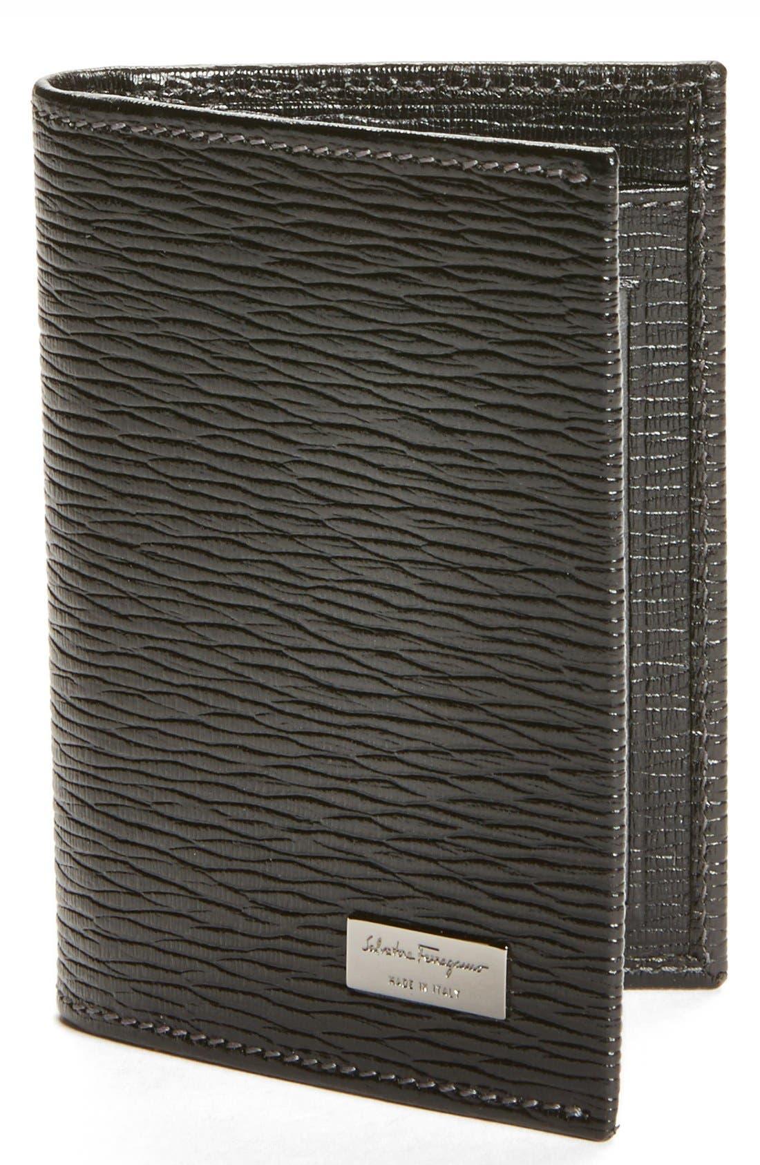 Stamped Calf Card Wallet,                             Main thumbnail 1, color,                             BLACK