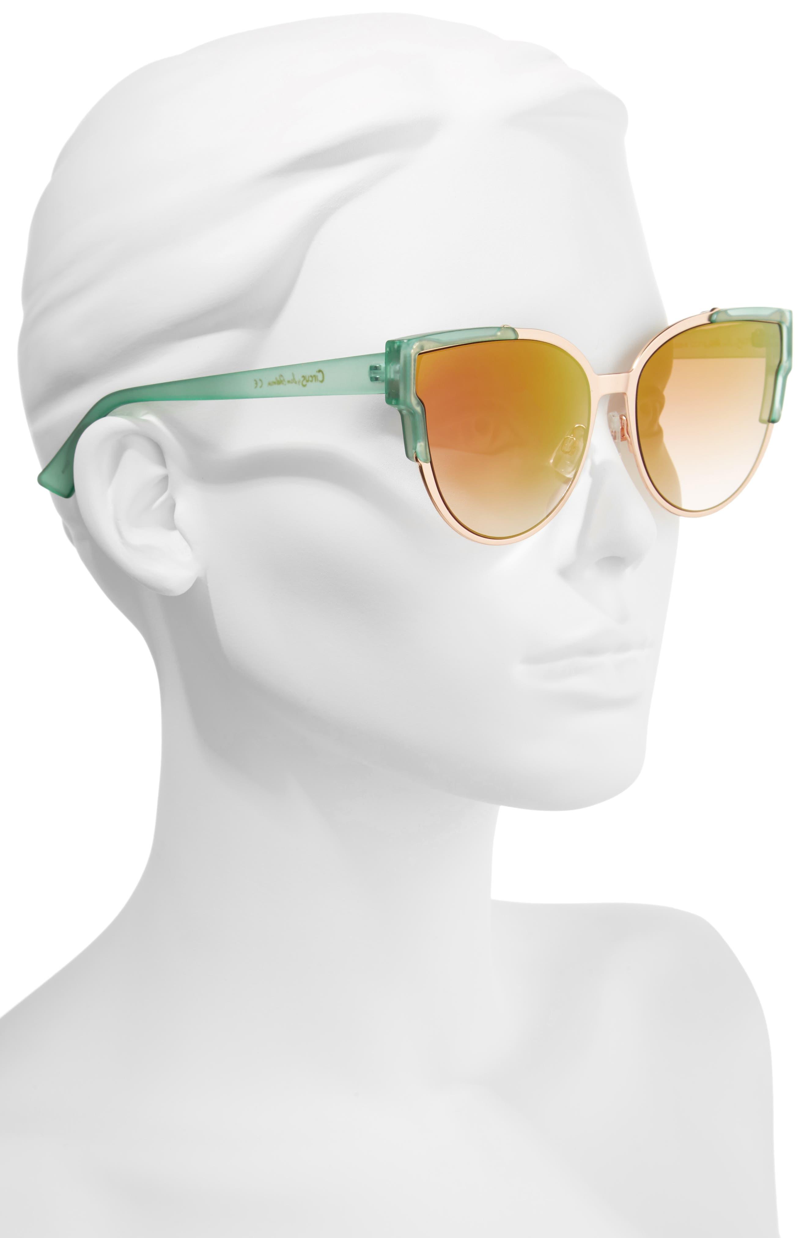 56mm Combo Cat Eye Sunglasses,                             Alternate thumbnail 7, color,