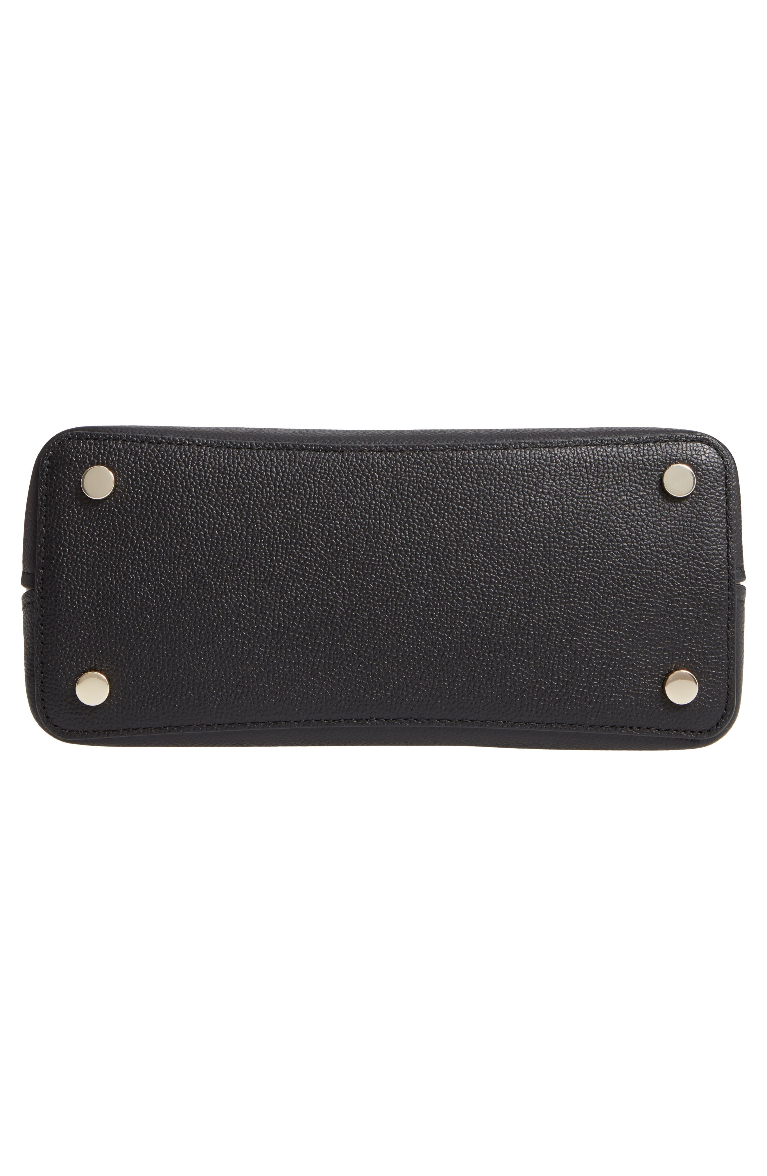 medium sam leather satchel,                             Alternate thumbnail 6, color,                             BLACK