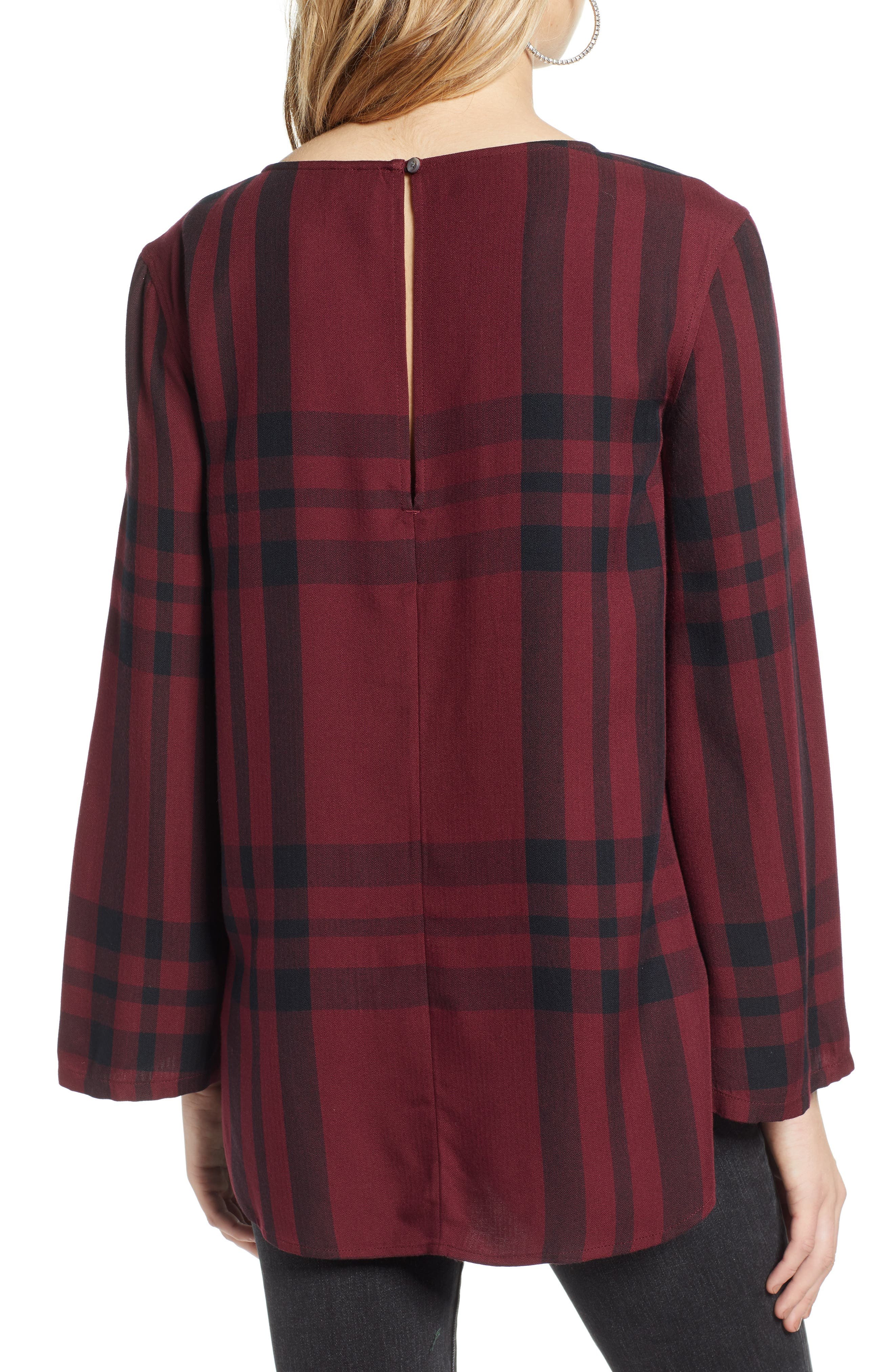 Bell Sleeve Shirt,                             Alternate thumbnail 2, color,                             RED TANNIN BULLSEYE PLAID