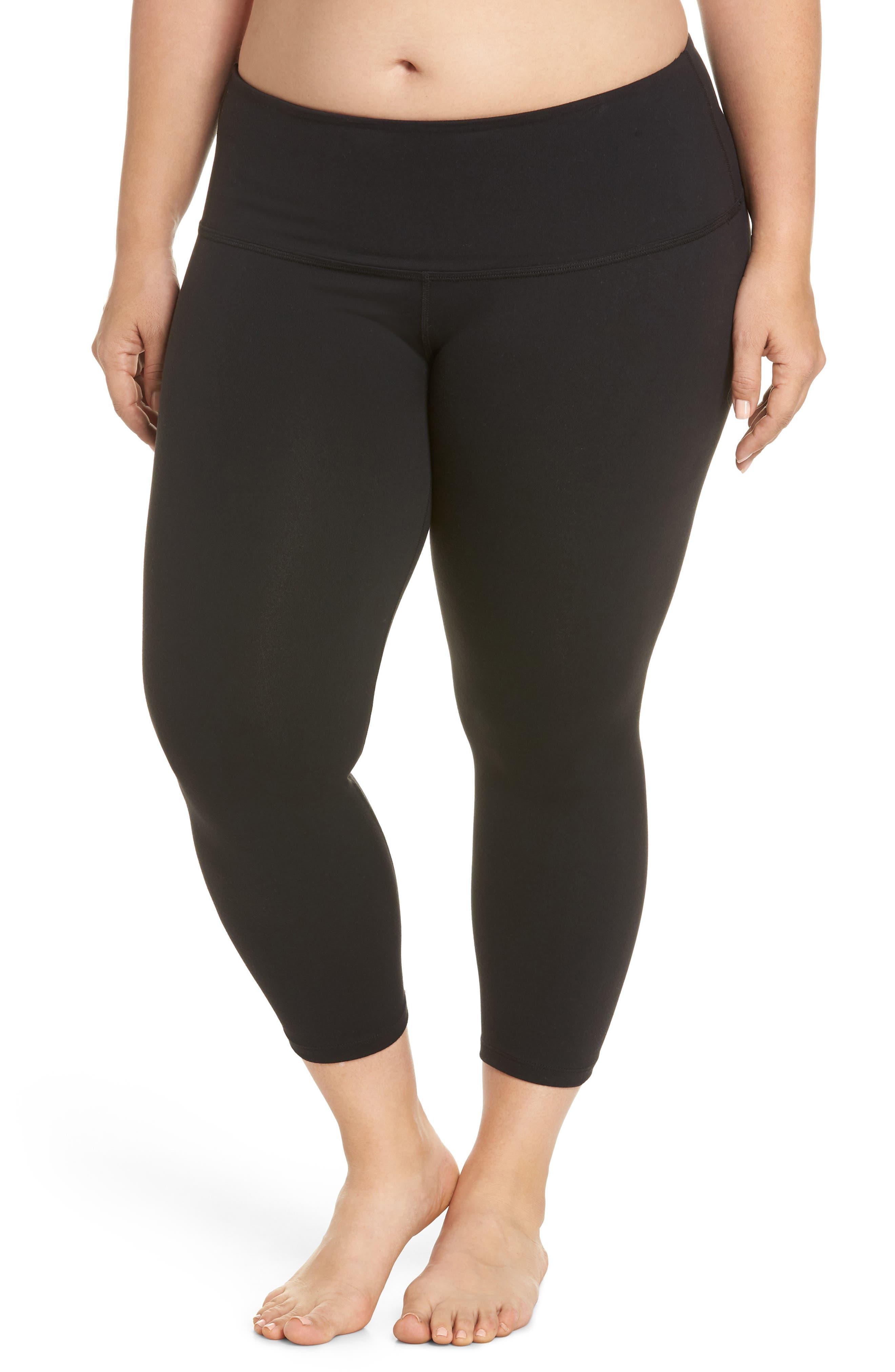High Waist Capri Leggings,                         Main,                         color, JET BLACK