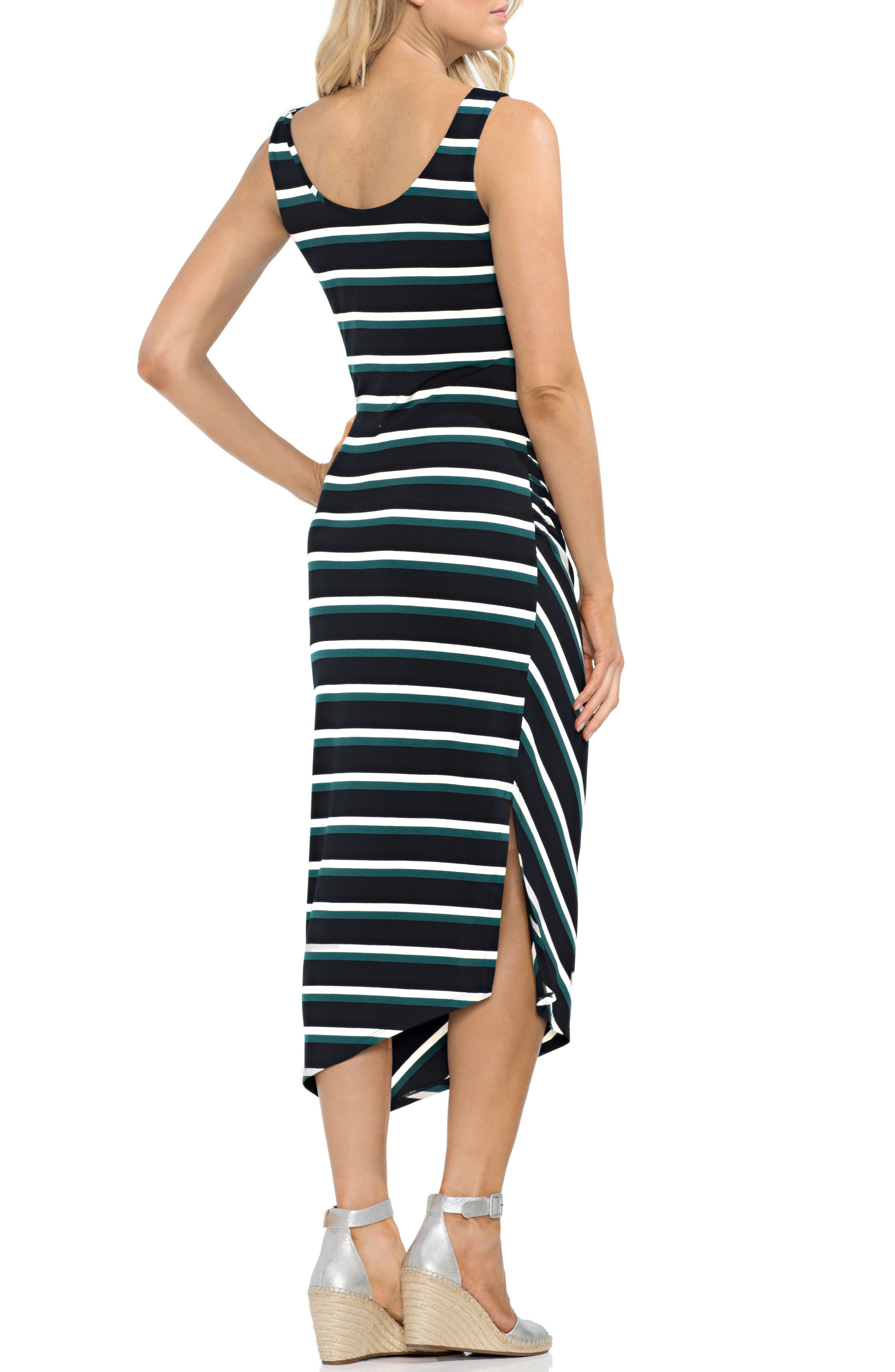VINCE CAMUTO,                             Ruched Stripe Dress,                             Alternate thumbnail 2, color,                             300