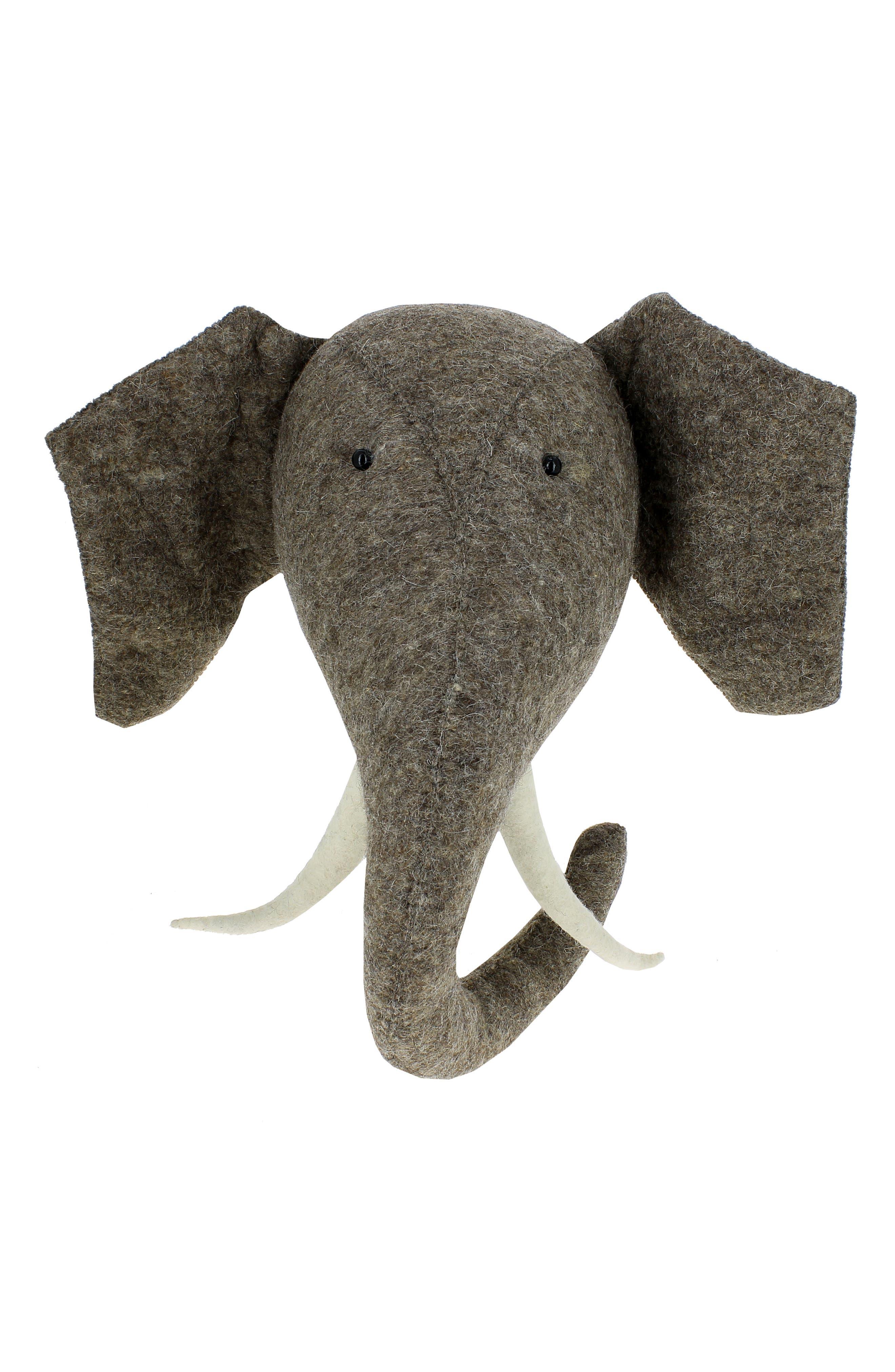 Elephant Head with Tusks Wall Art,                             Alternate thumbnail 3, color,                             GREY
