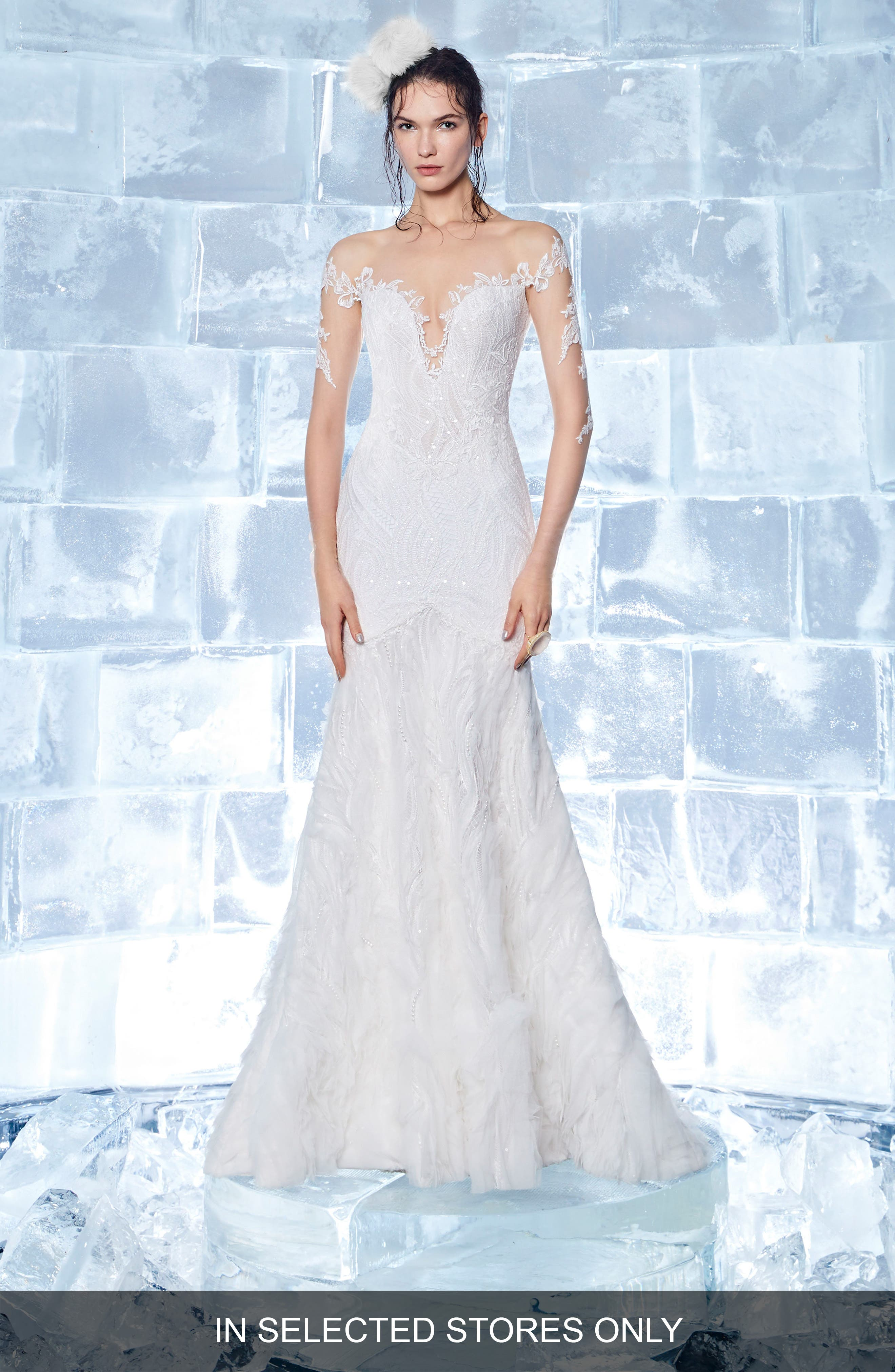 INES BY INES DI SANTO Garnet Embroidered Illusion Mermaid Gown, Main, color, OFF WHITE/ SOFT NUDE
