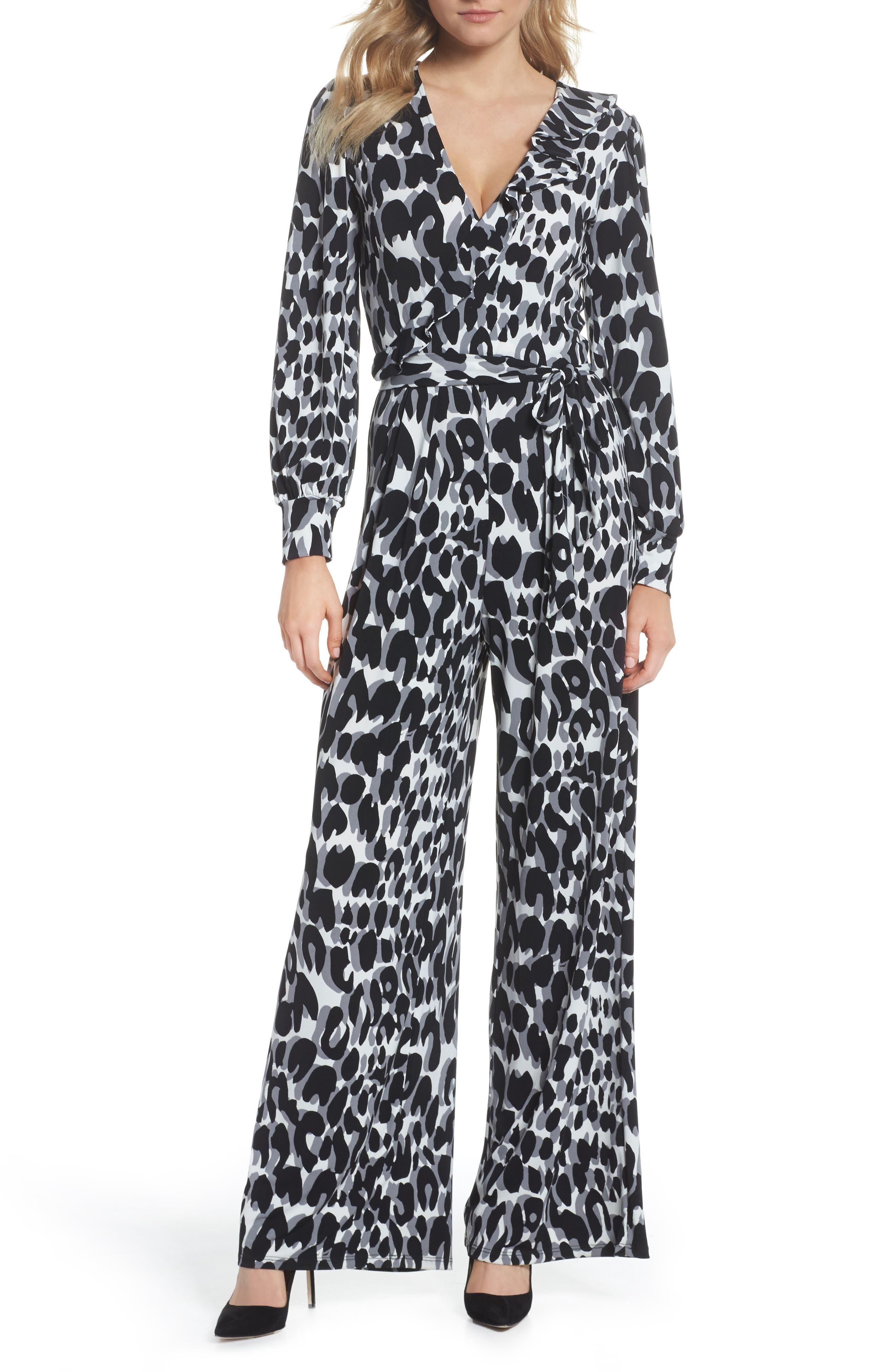 Vintage High Waisted Trousers, Sailor Pants, Jeans Womens Leota Julie Print Ruffle Jumpsuit $94.80 AT vintagedancer.com