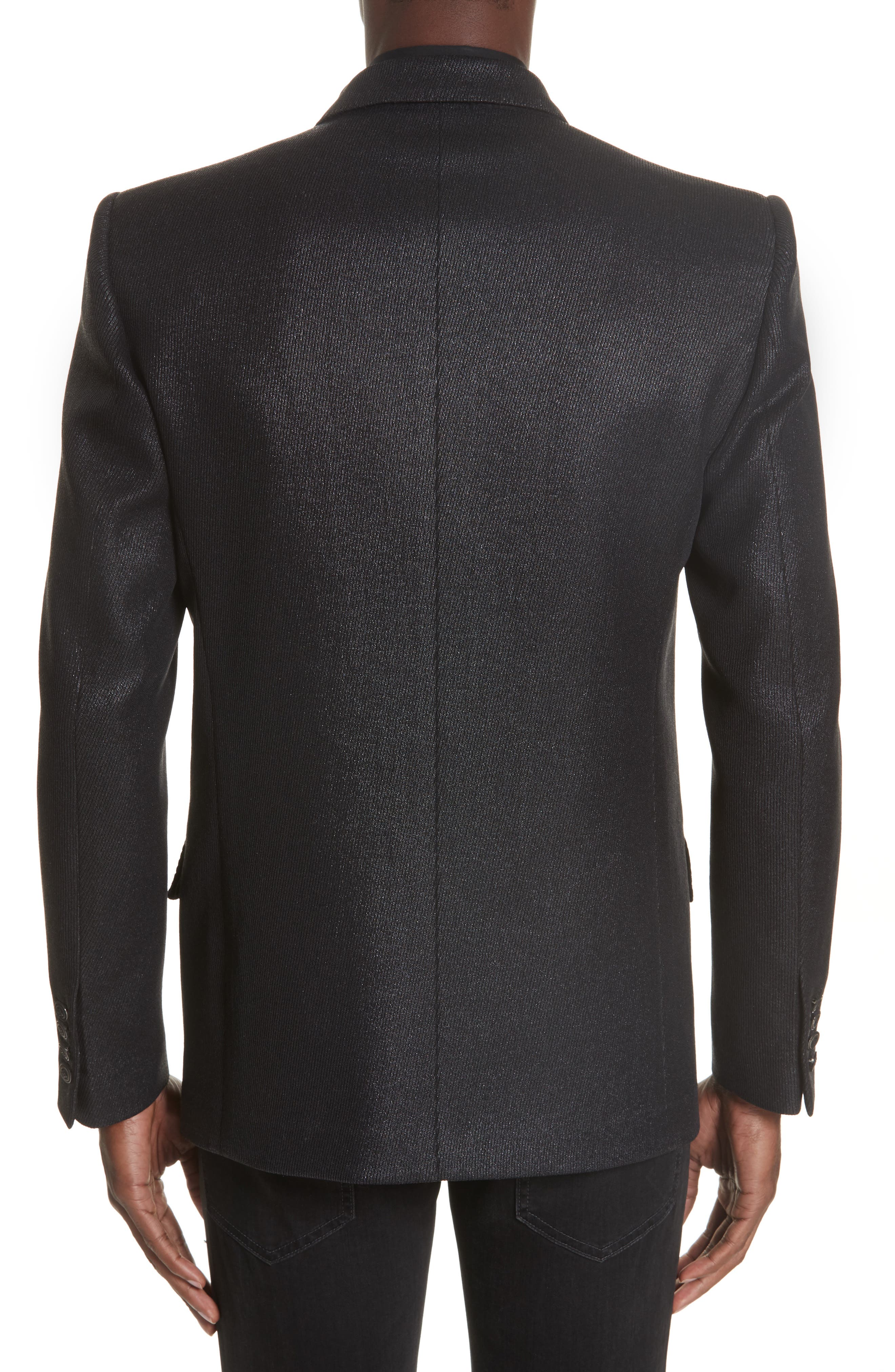 Double Breasted Wool Blazer,                             Alternate thumbnail 2, color,                             001