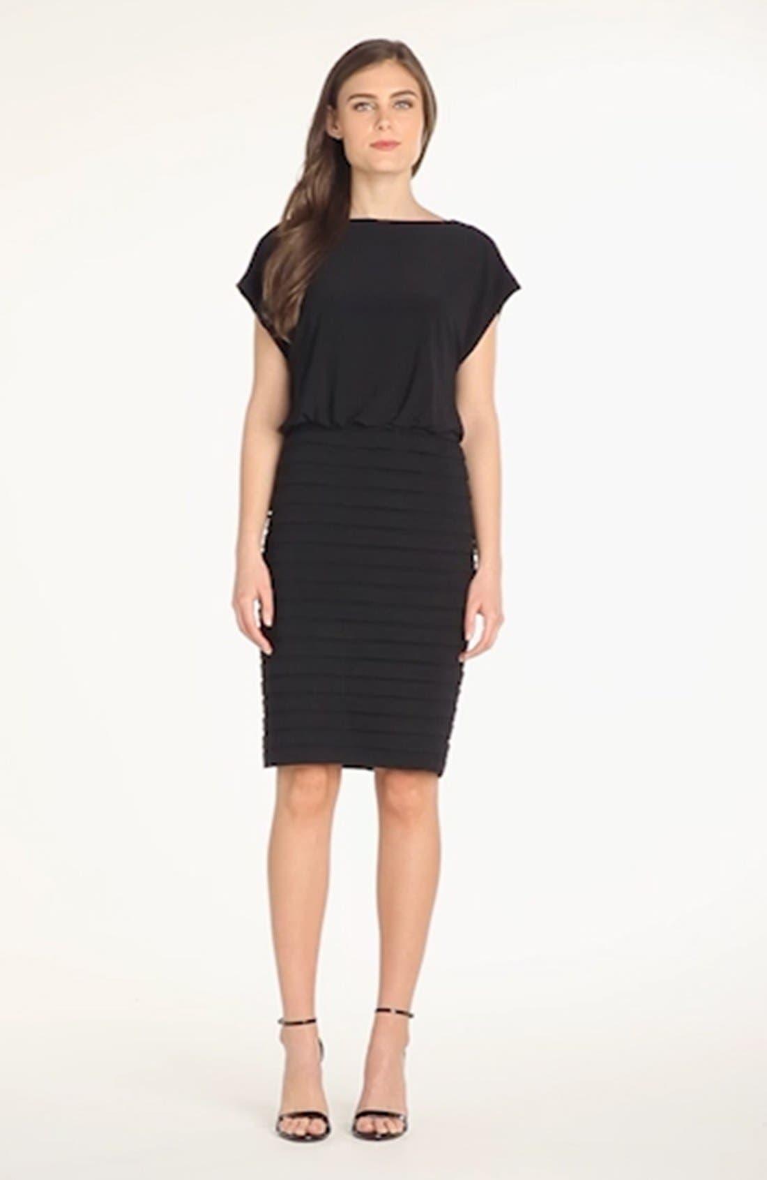 Pleated Jersey Blouson Dress,                             Alternate thumbnail 3, color,                             001