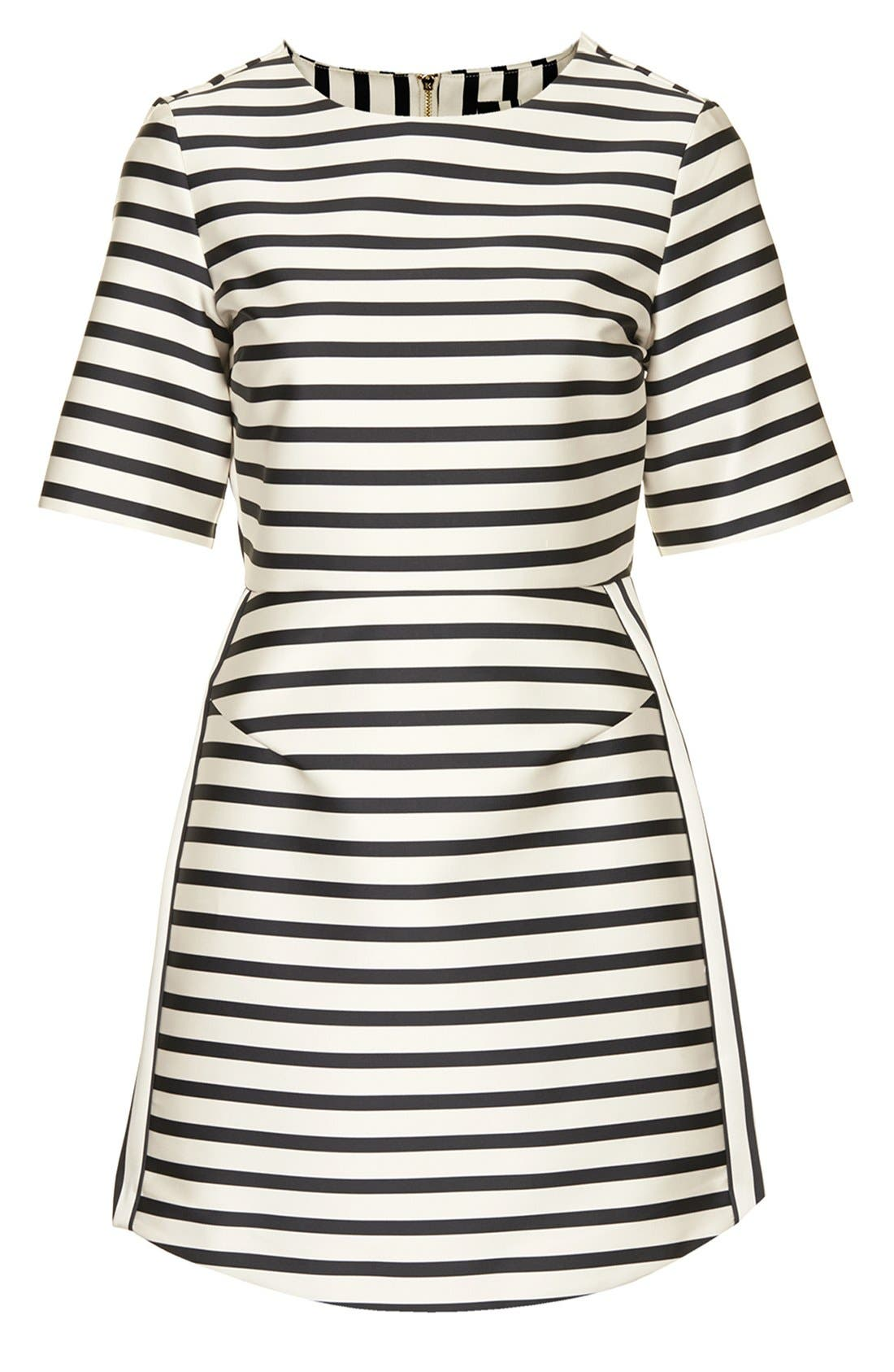 Stripe Satin Dress,                             Alternate thumbnail 8, color,