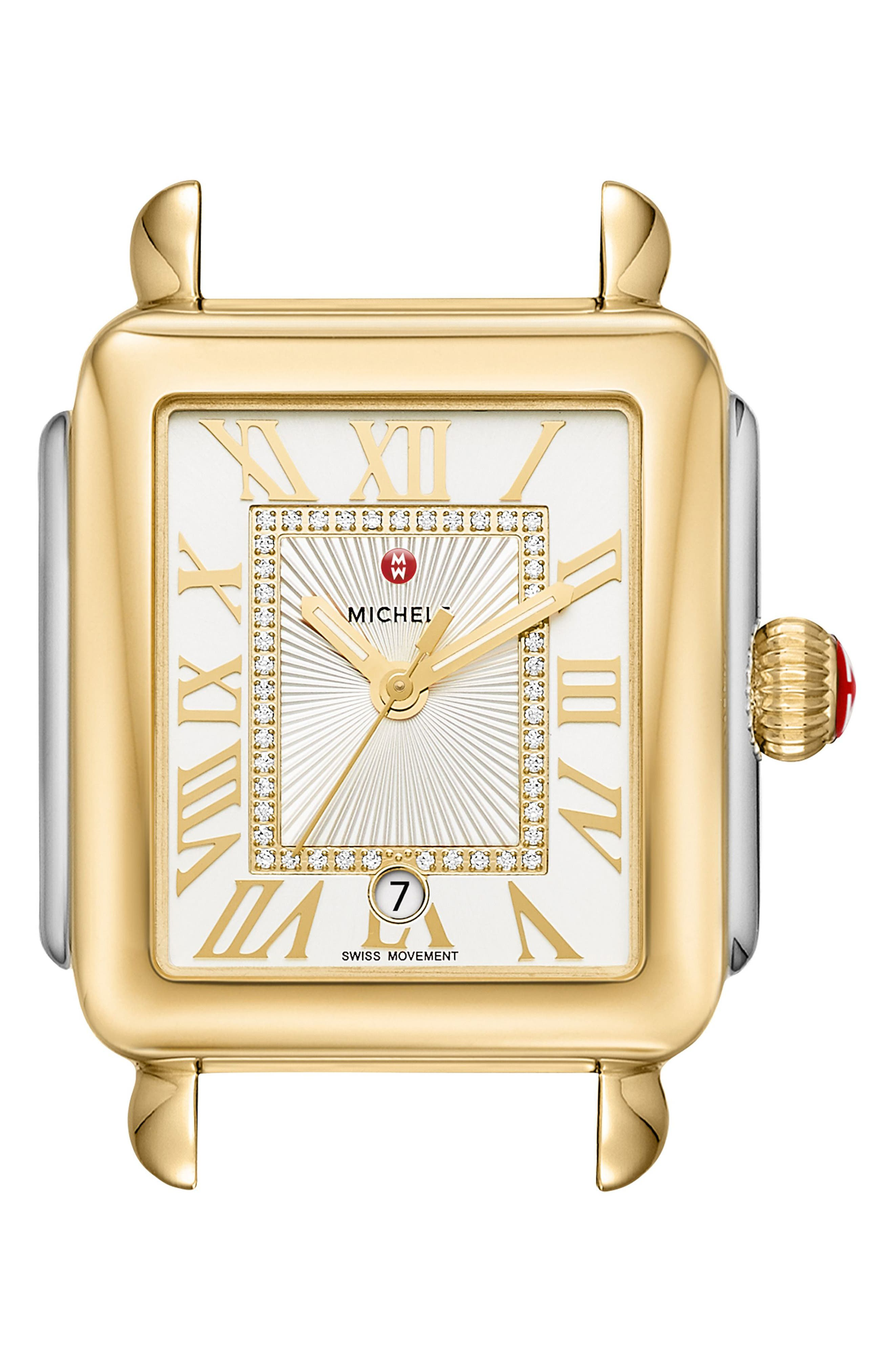 Deco Madison Diamond Dial Watch Case, 33mm x 35mm,                             Main thumbnail 1, color,                             GOLD/ STAINLESS STEEL