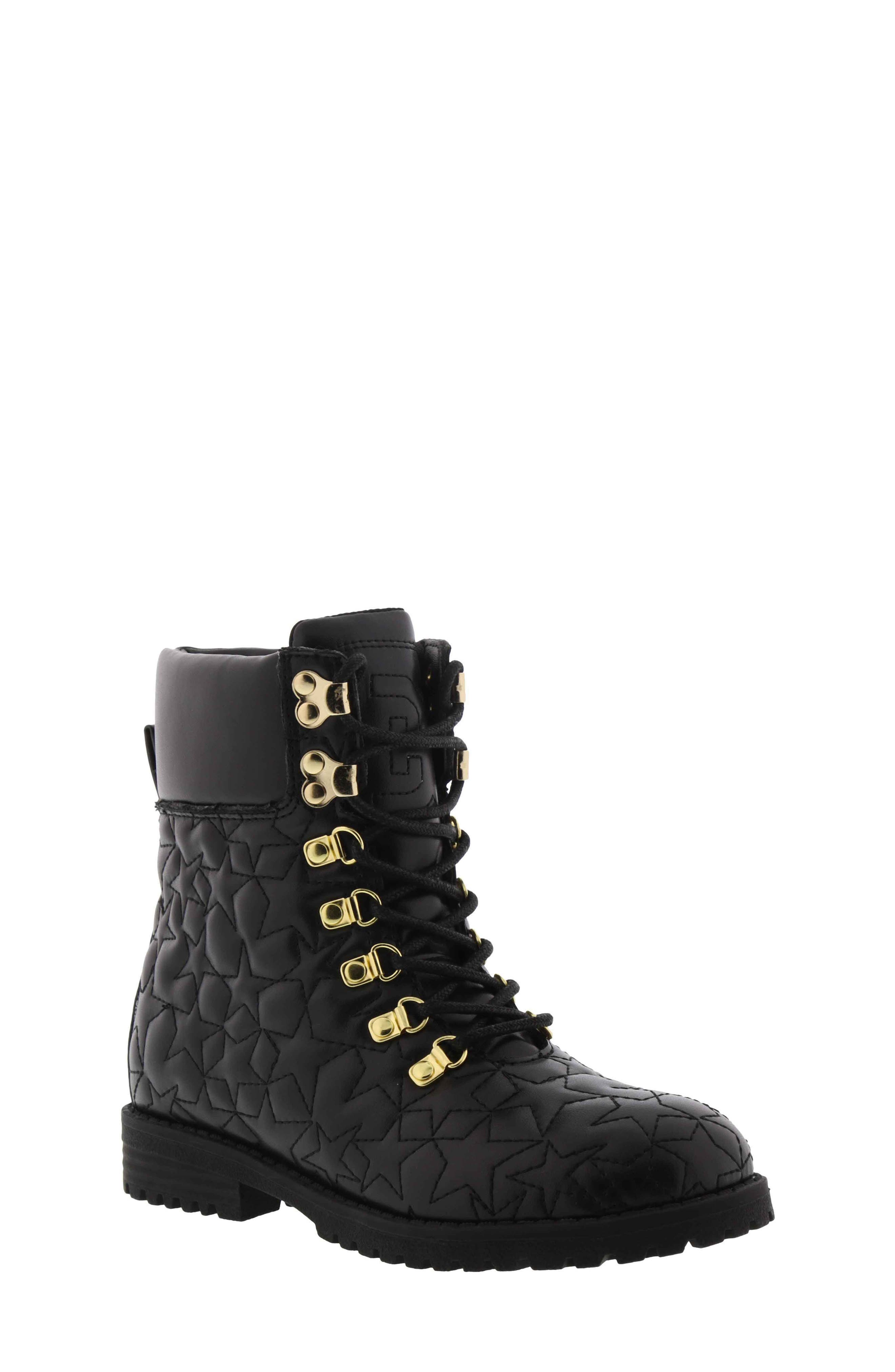 Sam Edelmen Jess Star Quilted Boot,                         Main,                         color, BLACK GOLD