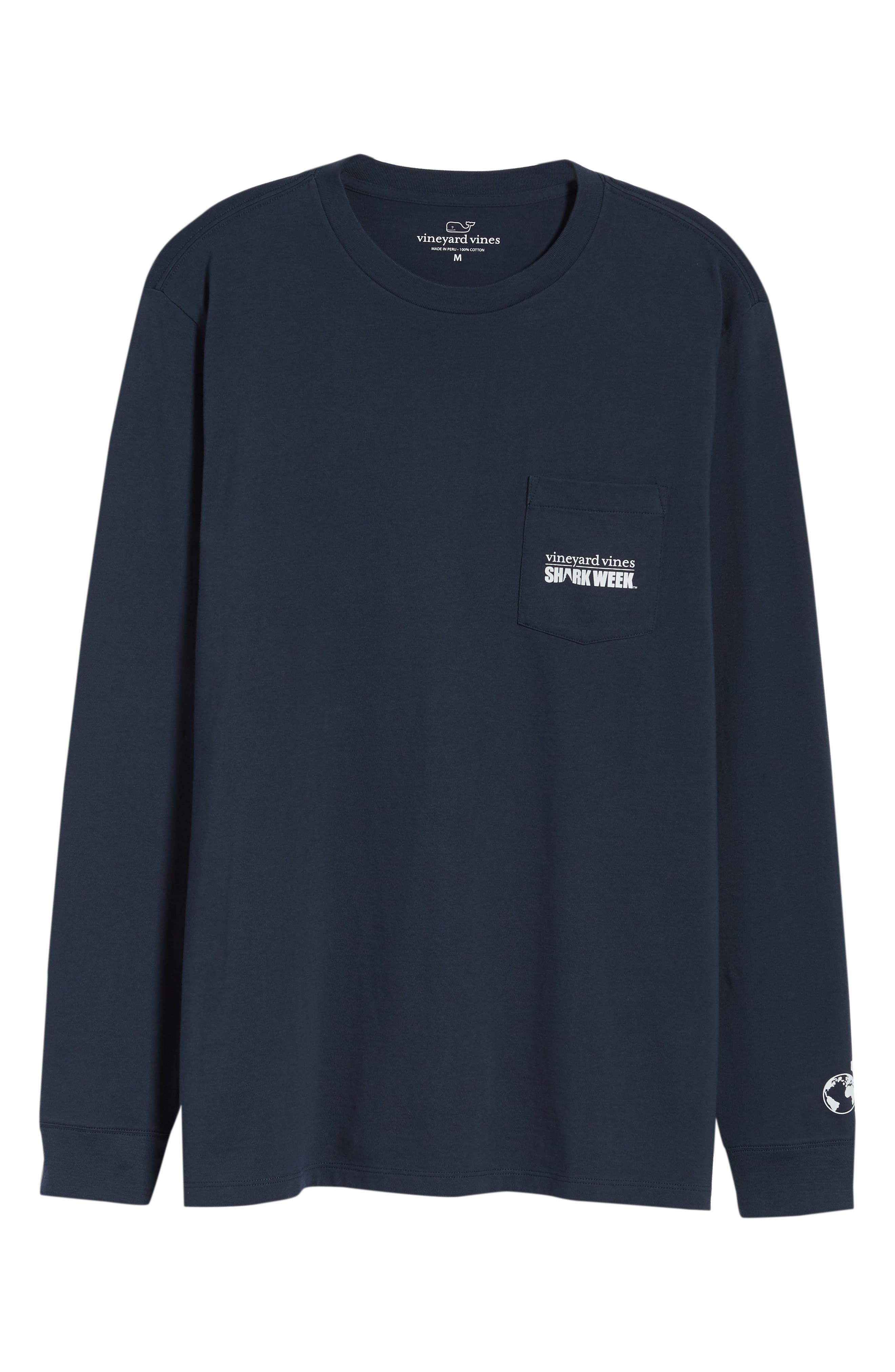 x Shark Week<sup>™</sup> Logo Long Sleeve Pocket T-Shirt,                             Alternate thumbnail 6, color,                             406