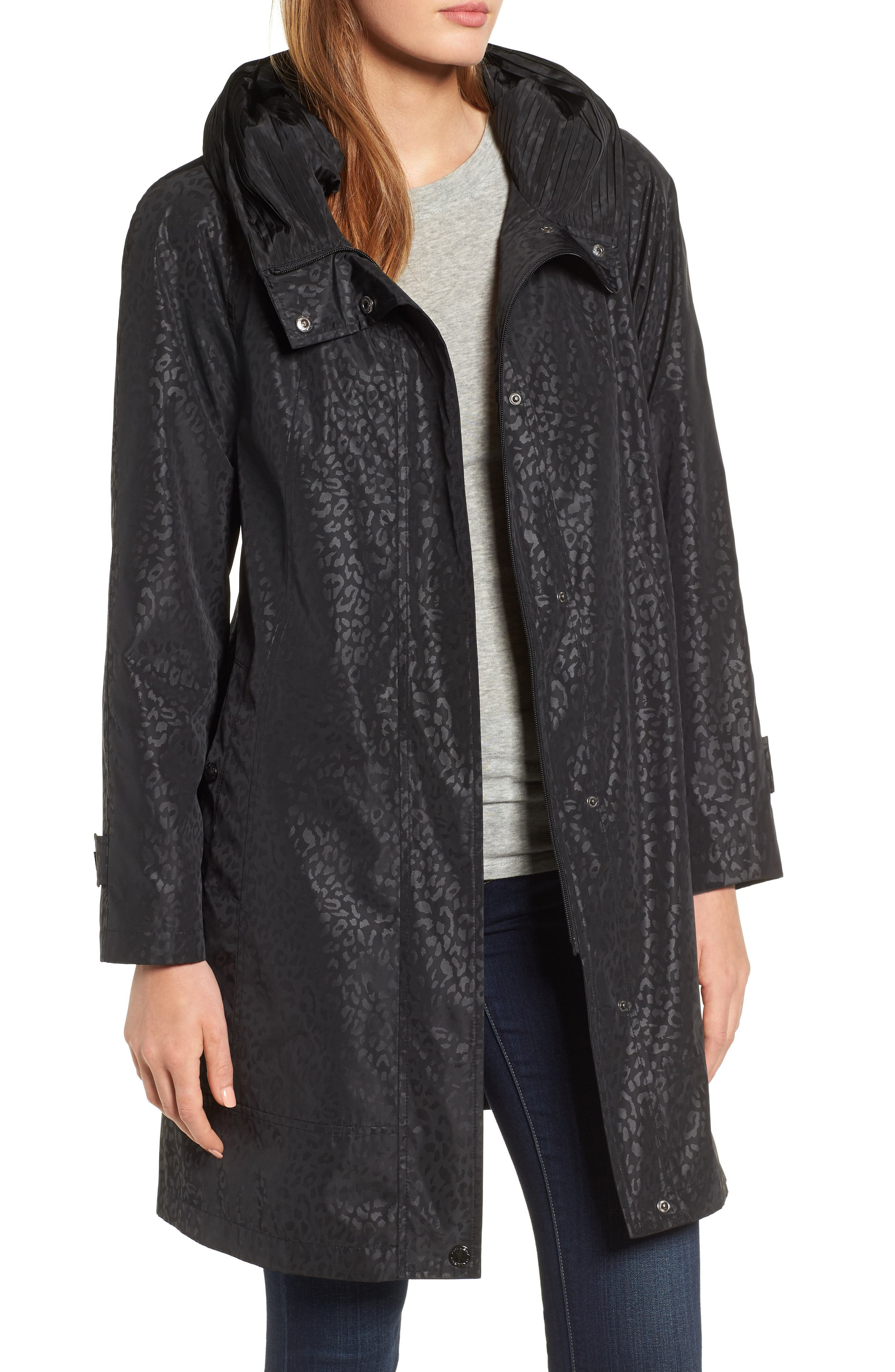 GALLERY Pleated Collar Raincoat, Main, color, 200