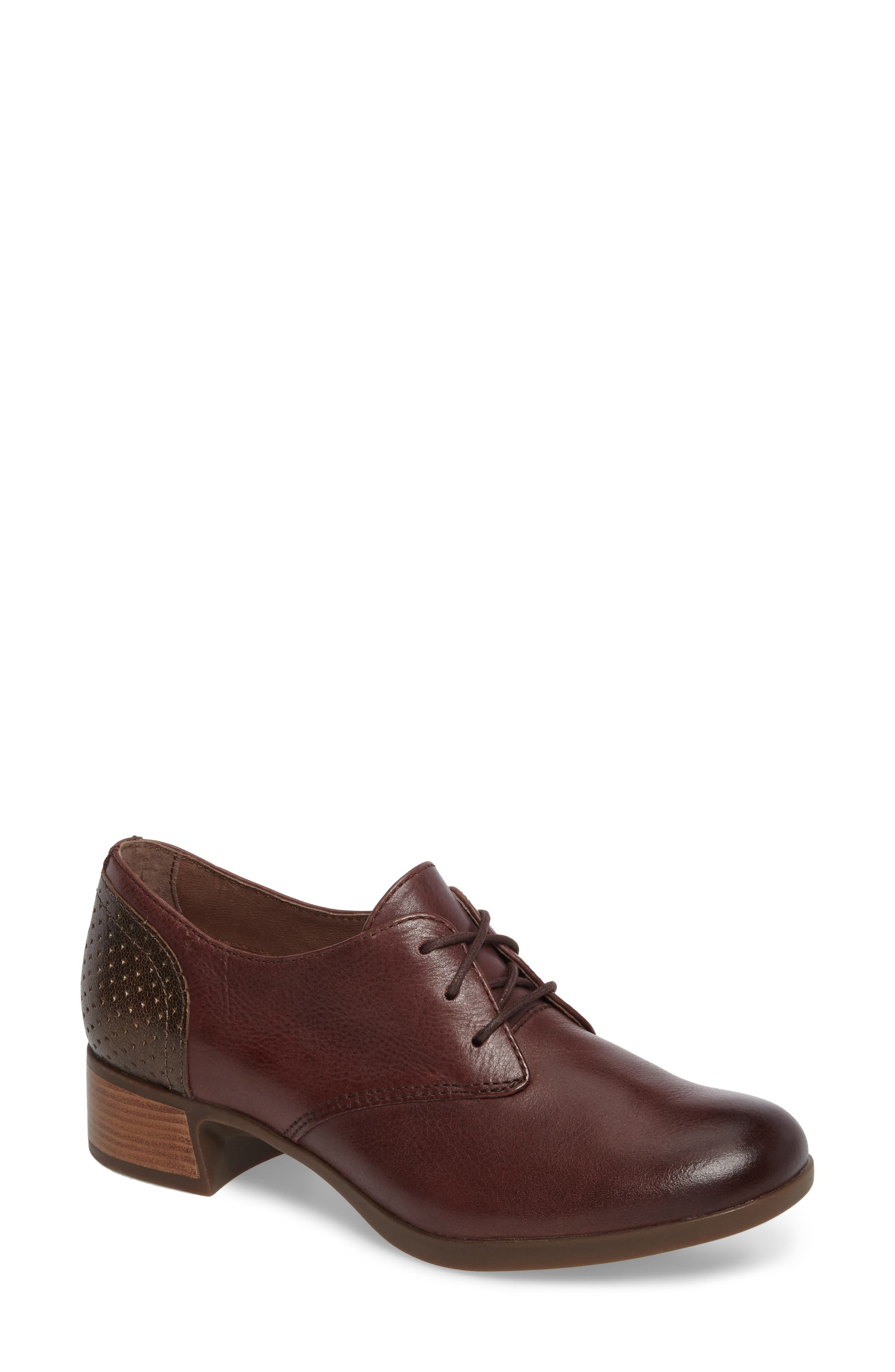 'Louise' Round Toe Derby,                             Main thumbnail 1, color,                             WINE BURNISHED LEATHER