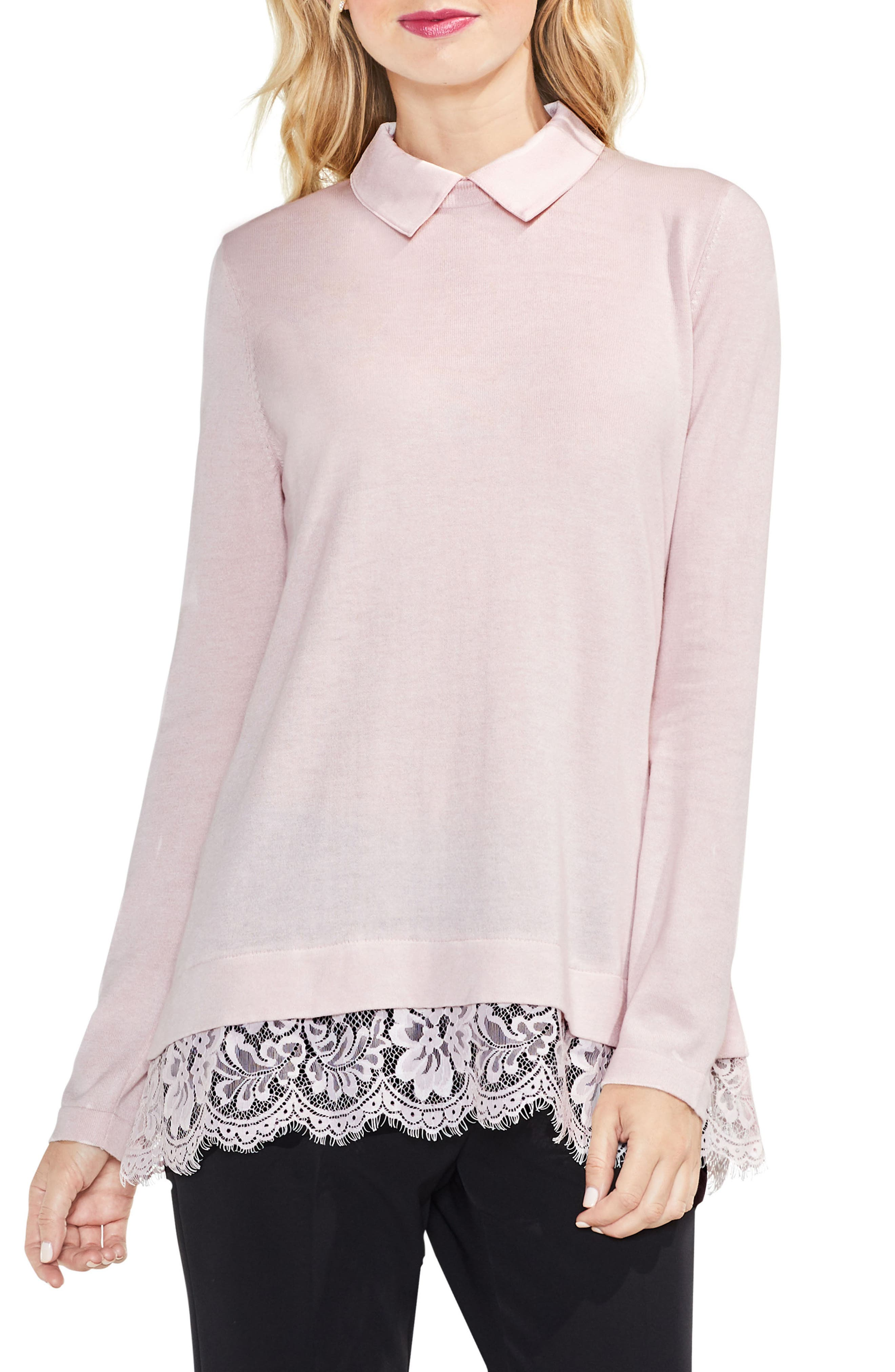 Lace Hem Collared Sweater,                             Main thumbnail 2, color,