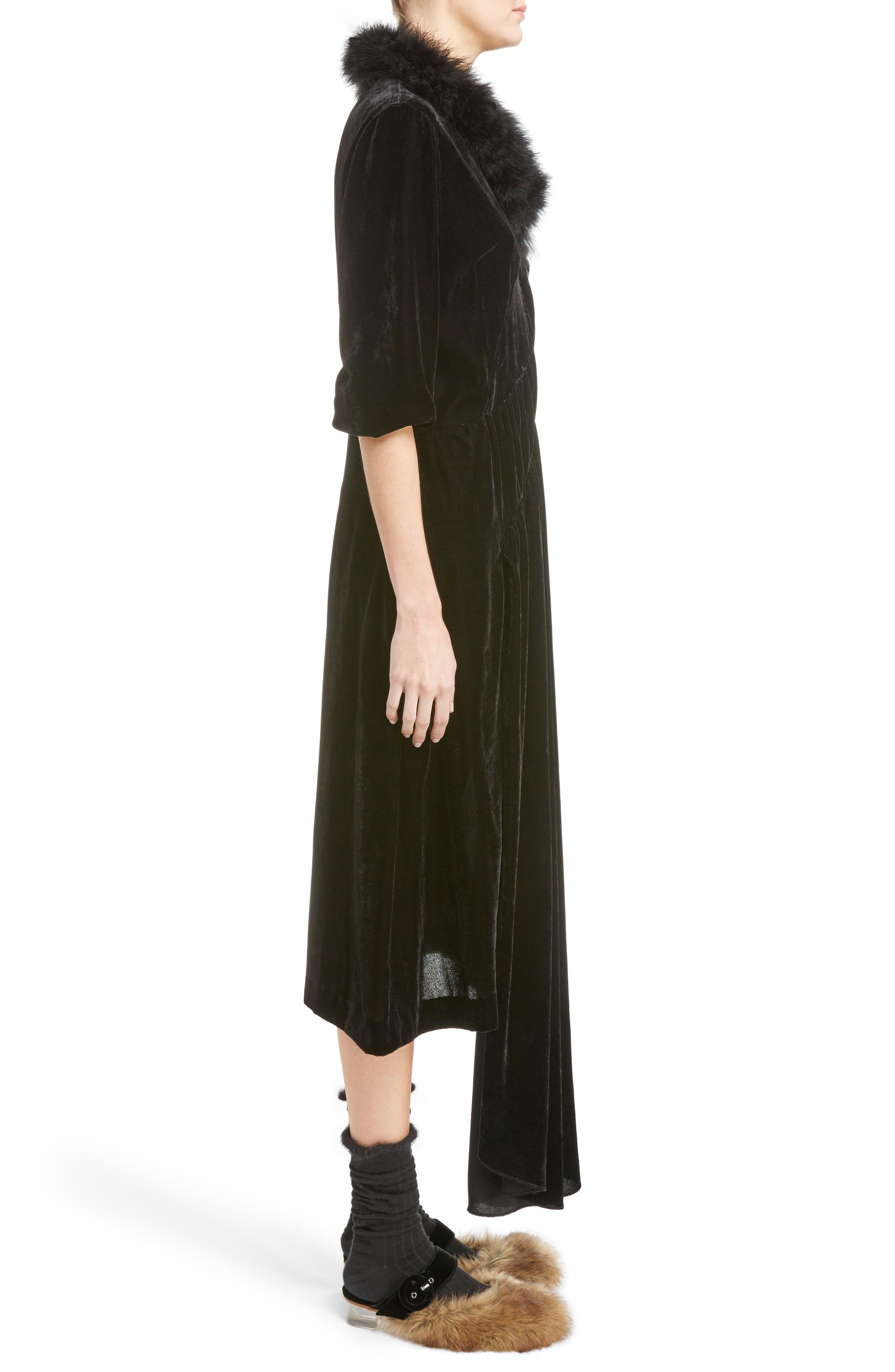 Asymmetrical Velvet Dress with Marabou Trim,                             Alternate thumbnail 3, color,                             001