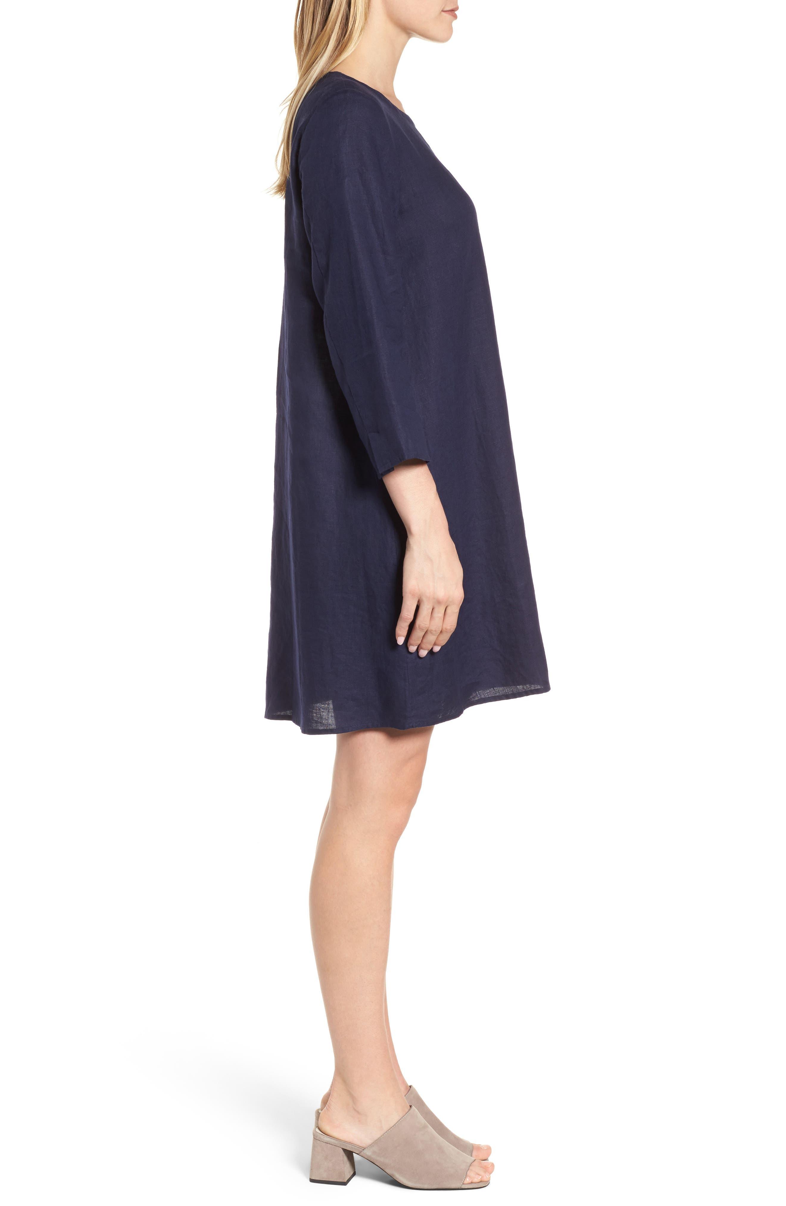 Organic Linen Round Neck Shift Dress,                             Alternate thumbnail 3, color,                             419