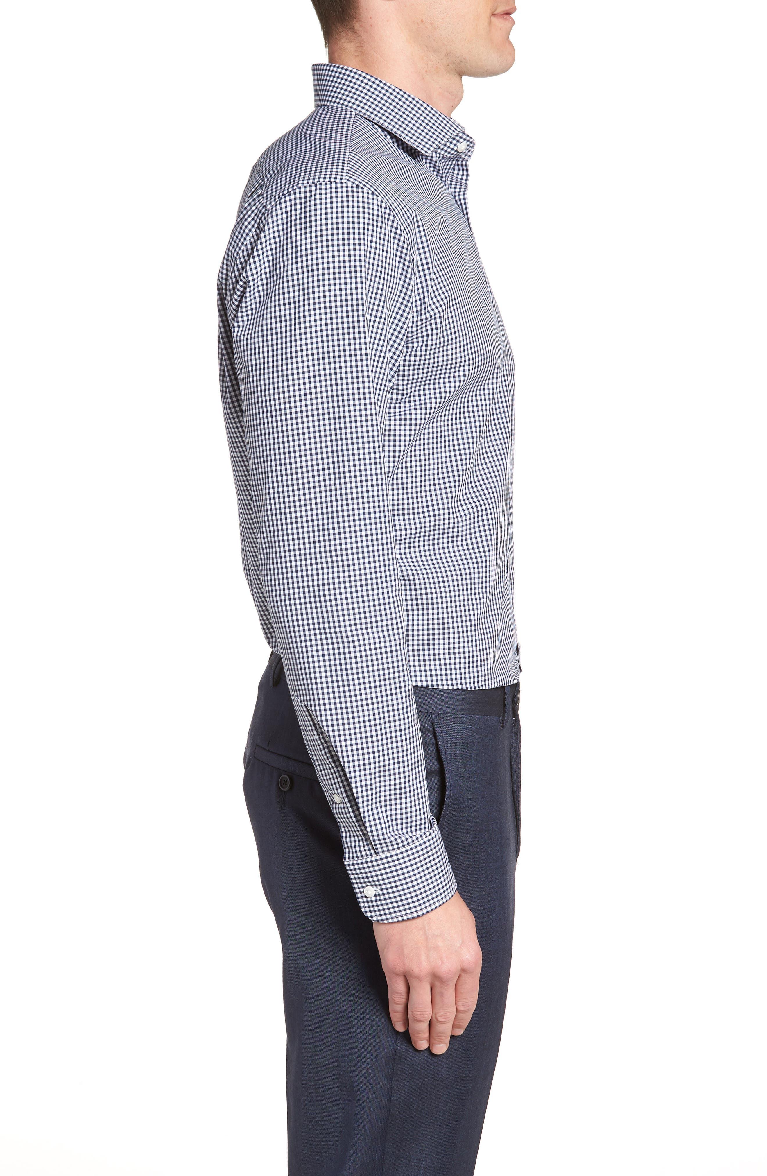 Trim Fit Check Dress Shirt,                             Alternate thumbnail 4, color,                             410