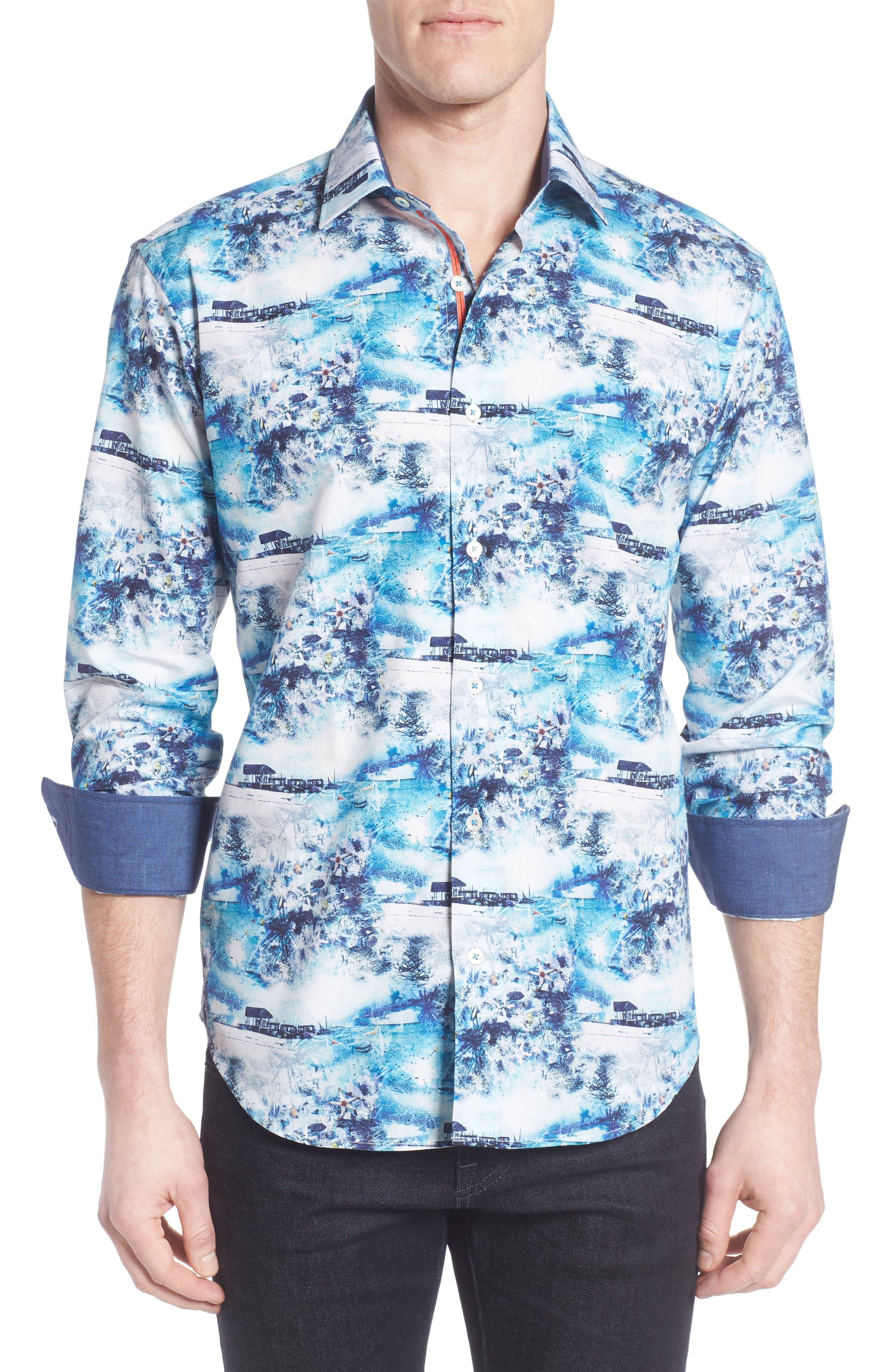 Shaped Fit Ocean Print Sport Shirt,                             Main thumbnail 1, color,