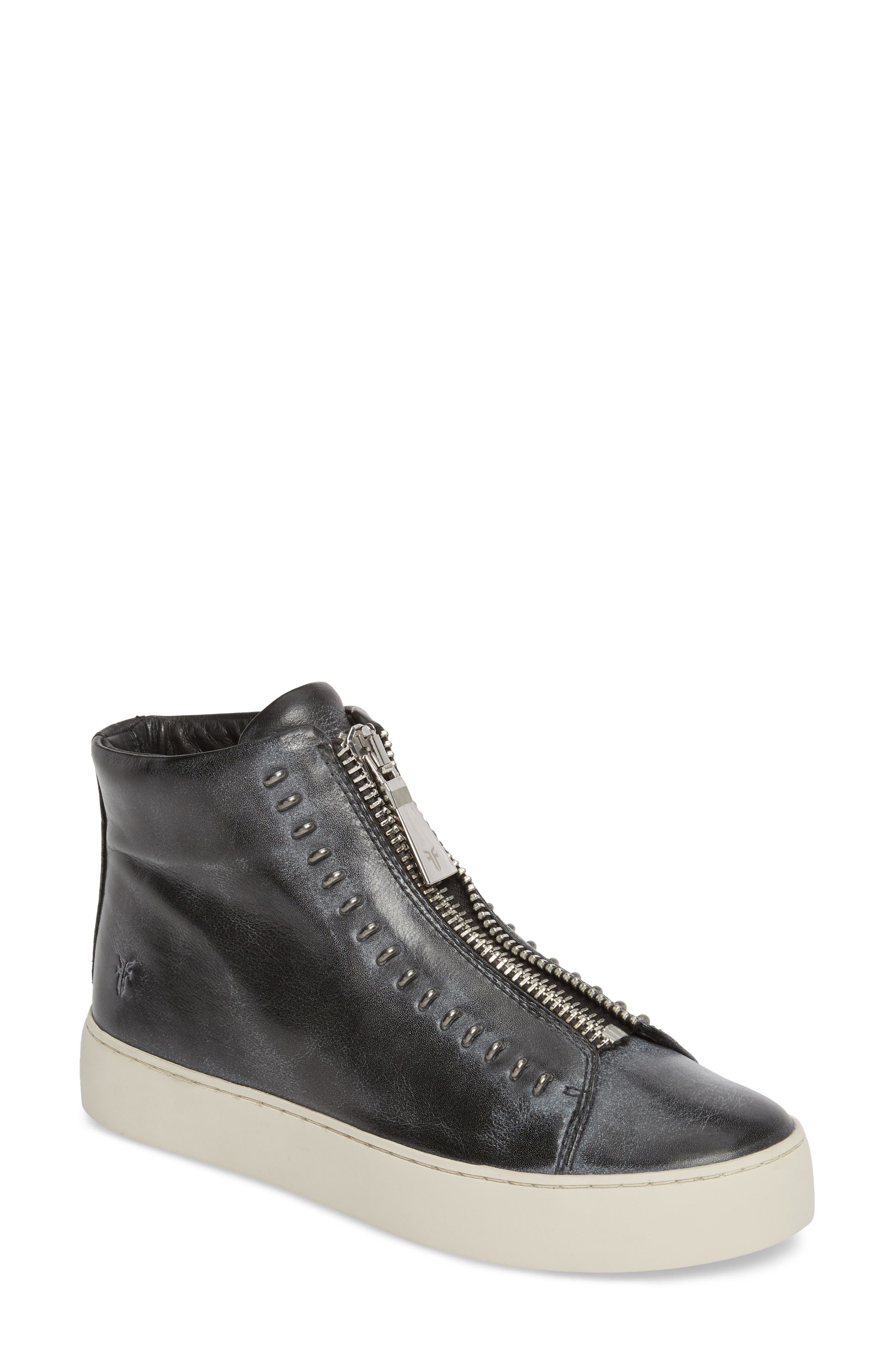Lena Rebel Zip High Top Sneaker,                             Main thumbnail 1, color,                             BLACK