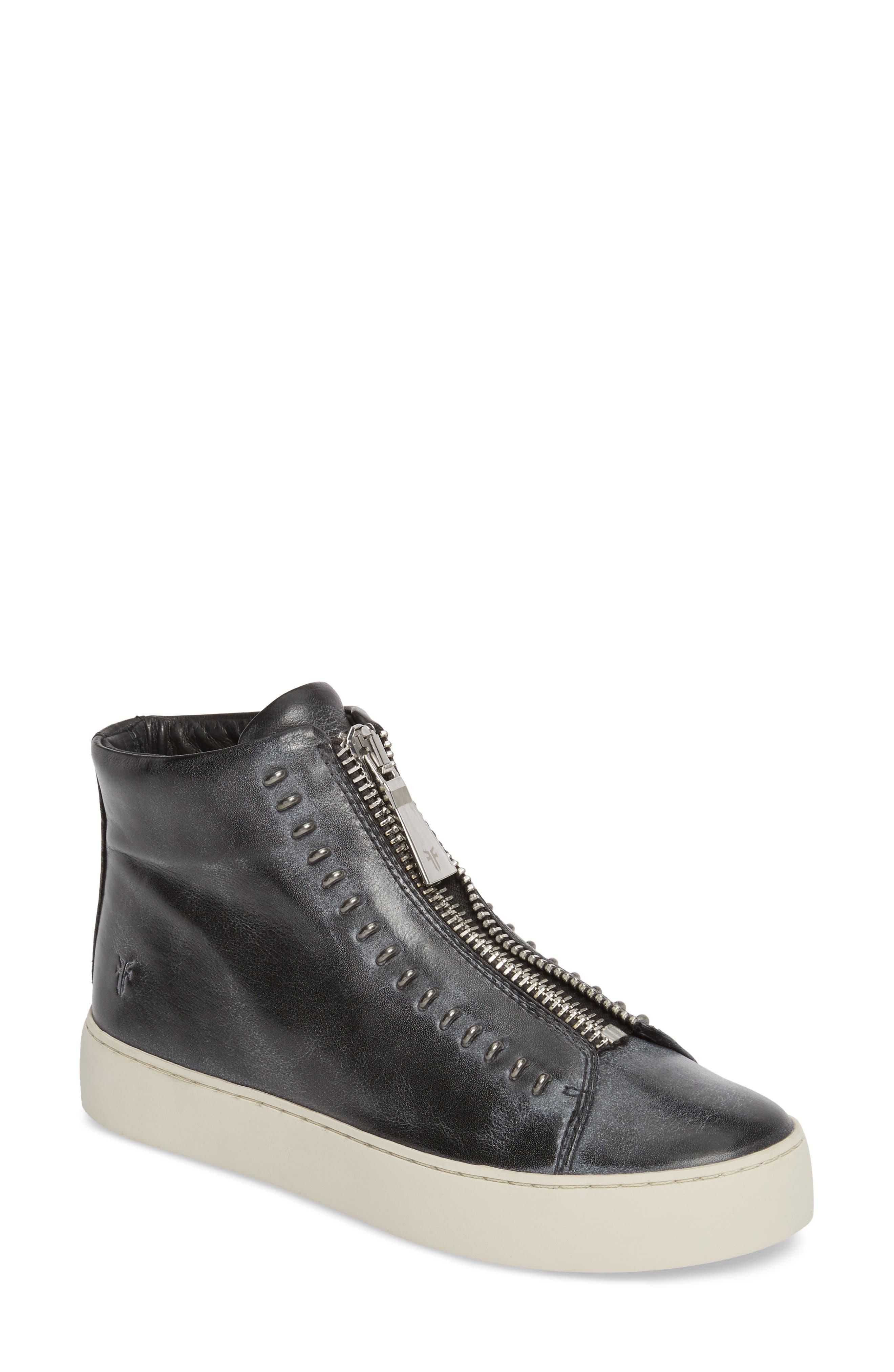 Lena Rebel Zip High Top Sneaker,                         Main,                         color, BLACK