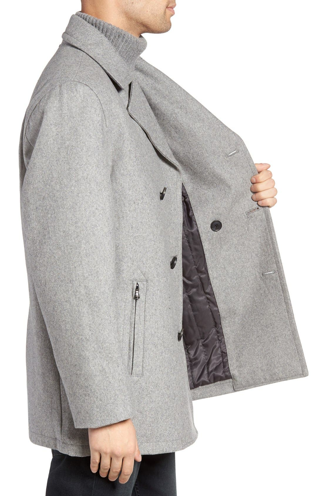 Wool Blend Double Breasted Peacoat,                             Alternate thumbnail 39, color,
