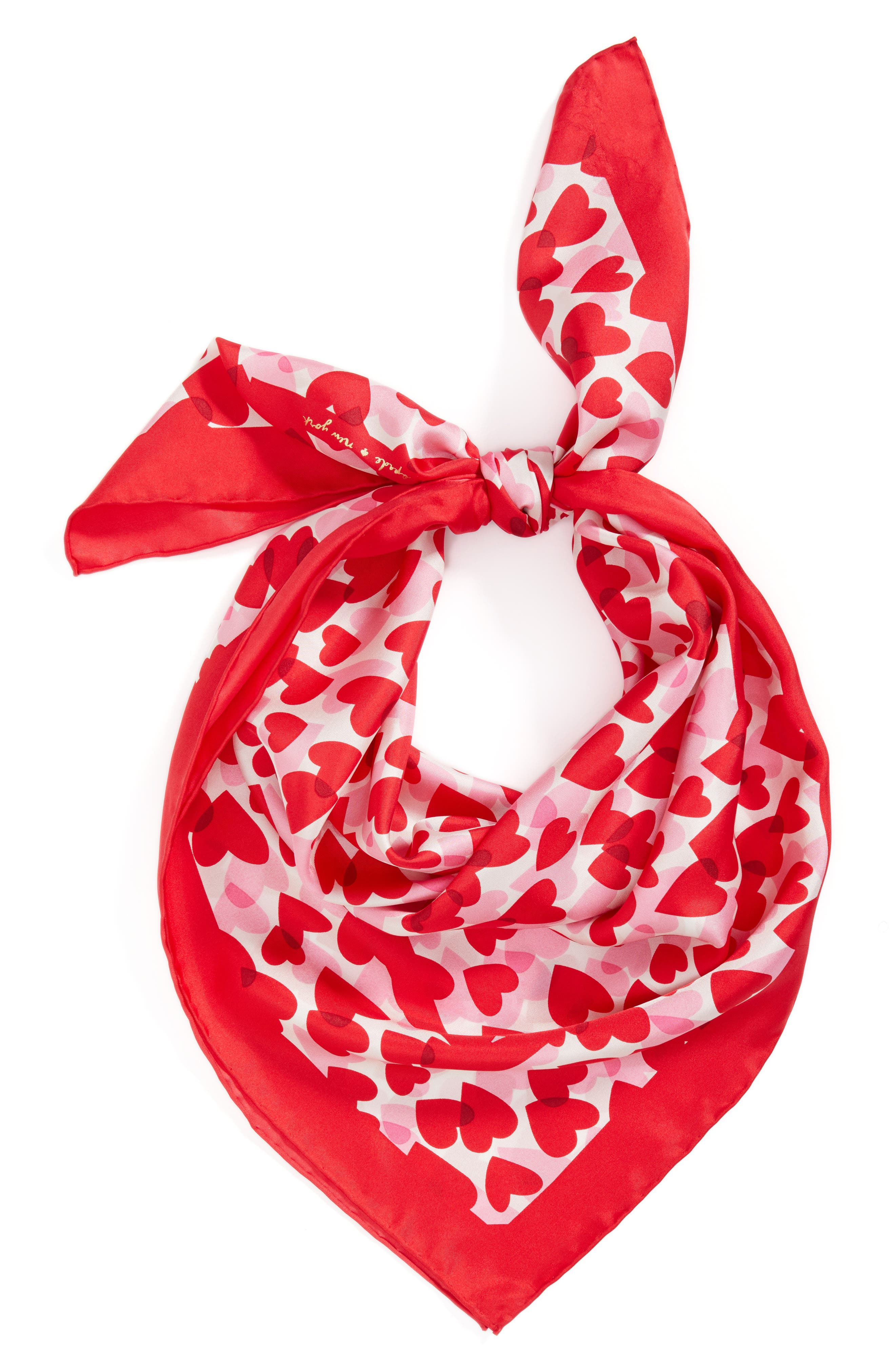 heart party silk square scarf,                             Alternate thumbnail 2, color,                             CHARM RED