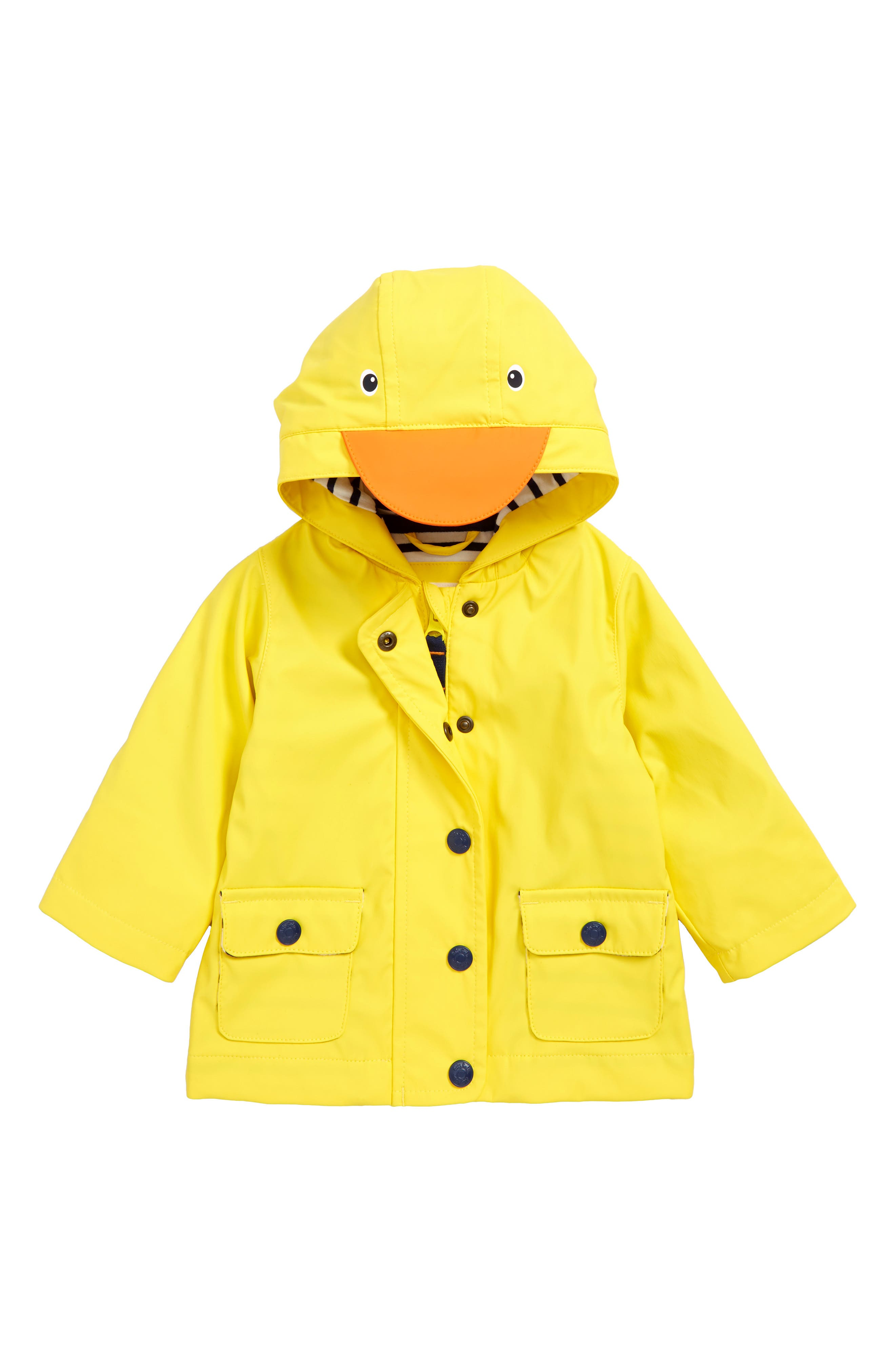 Duck Water Resistant Hooded Raincoat,                             Main thumbnail 1, color,                             SUNSHINE YELLOW DUCK