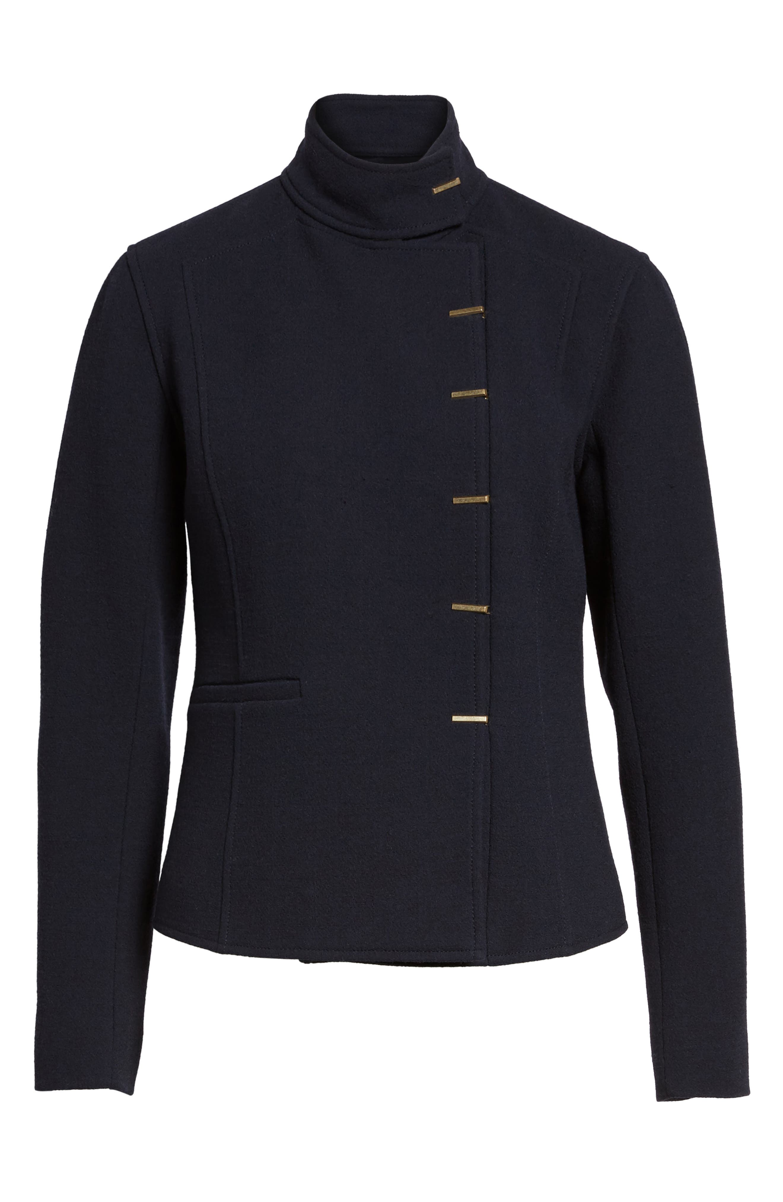 Fitted Wool Jacket,                             Alternate thumbnail 5, color,