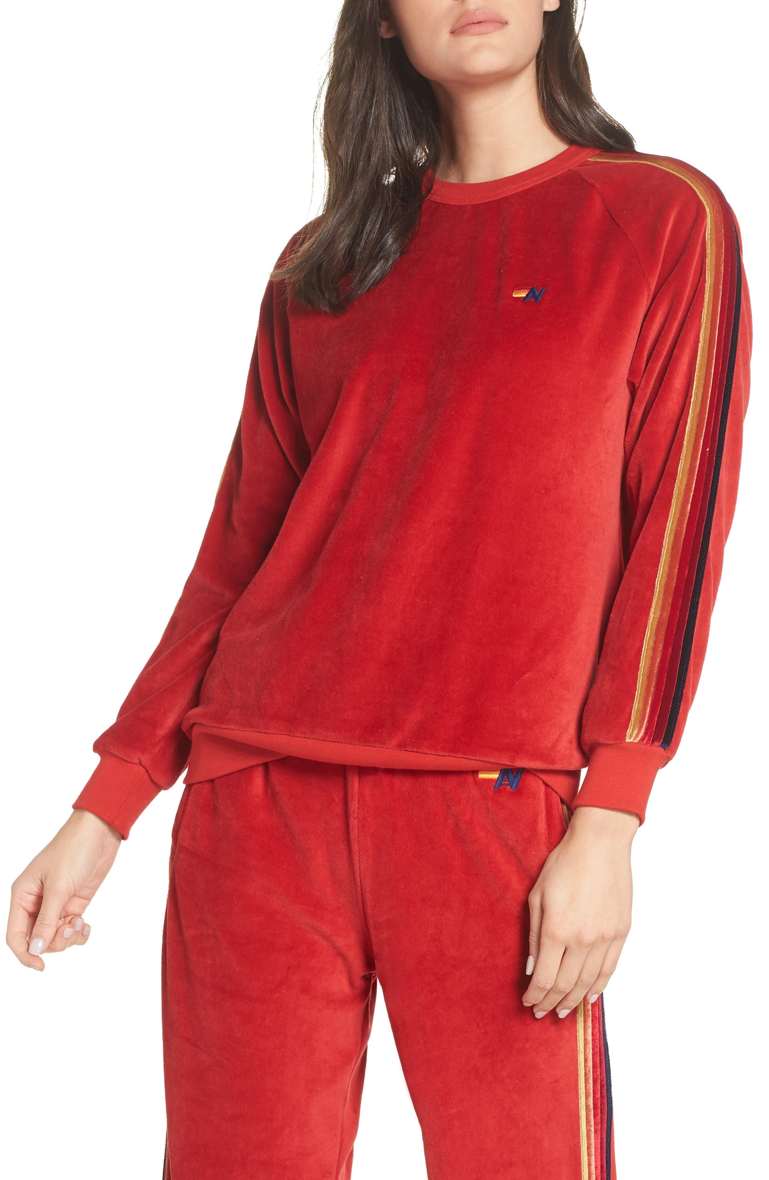 AVIATOR NATION Velvet Crewneck Sweatshirt in Red