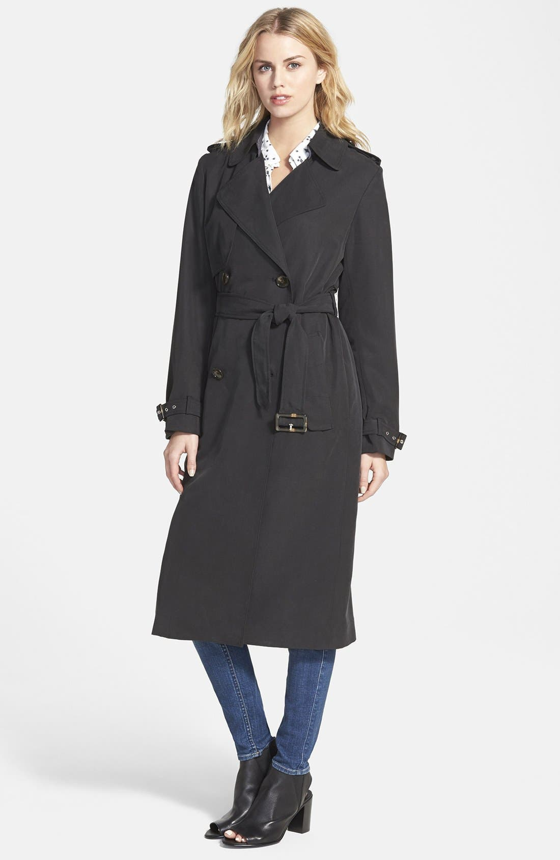 Double Breasted Long Trench Coat,                             Main thumbnail 1, color,                             001