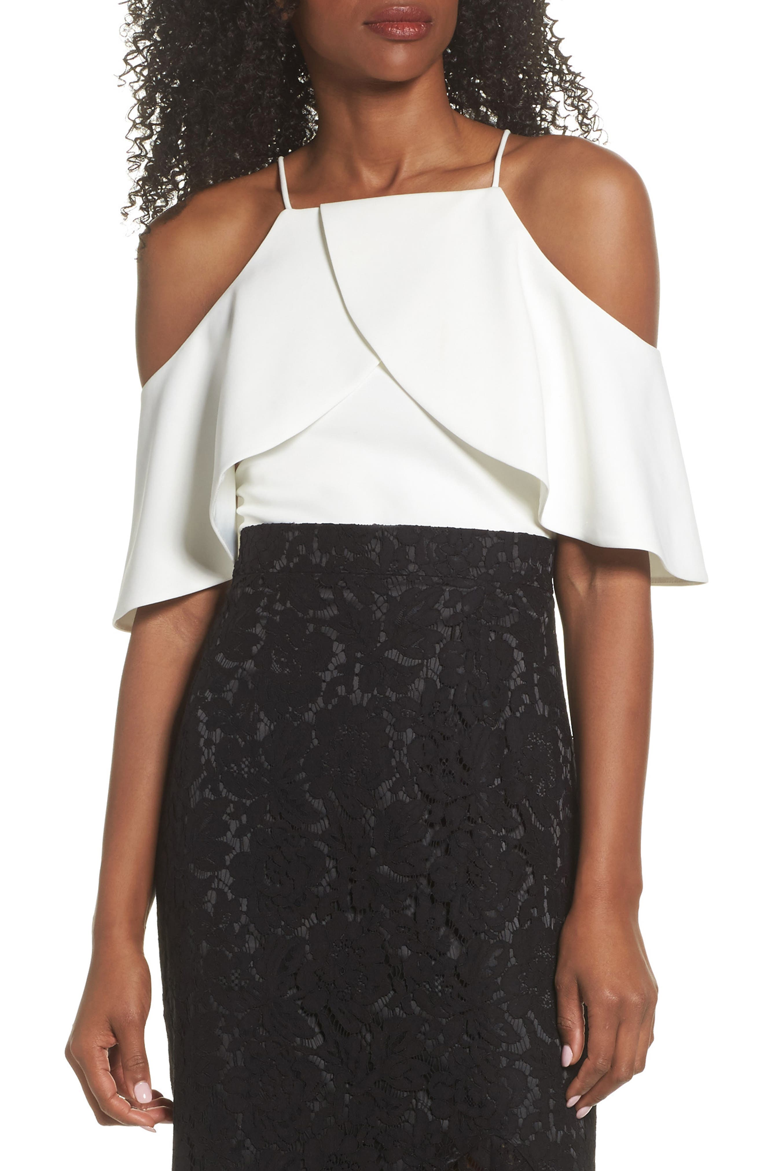 Ruffle Crepe Cold Shoulder Top,                         Main,                         color, IVY