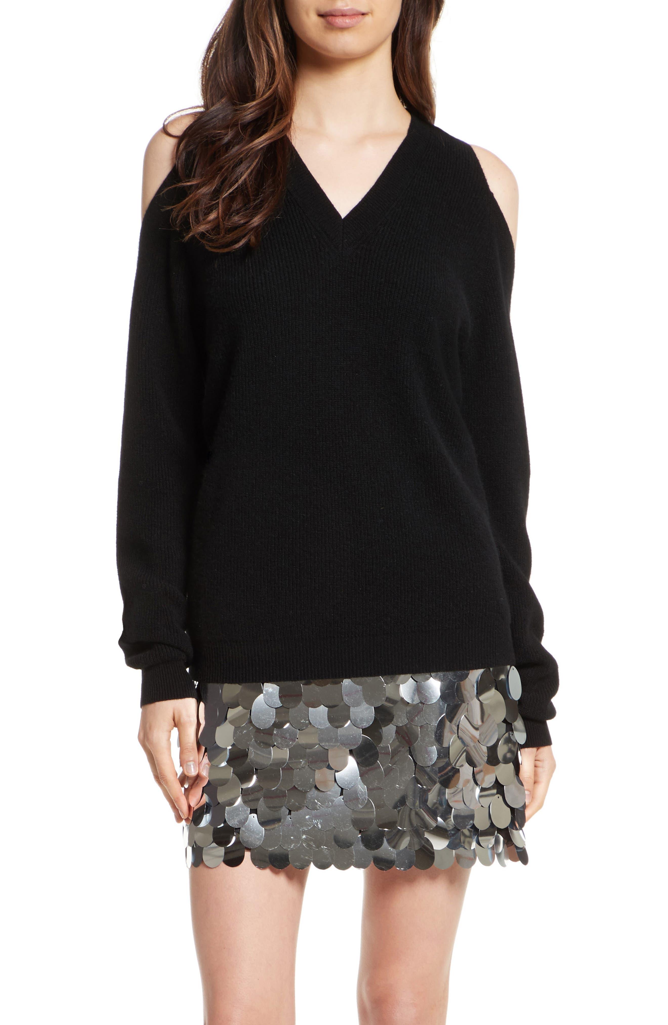 Cold Shoulder Cashmere Pullover,                             Main thumbnail 1, color,