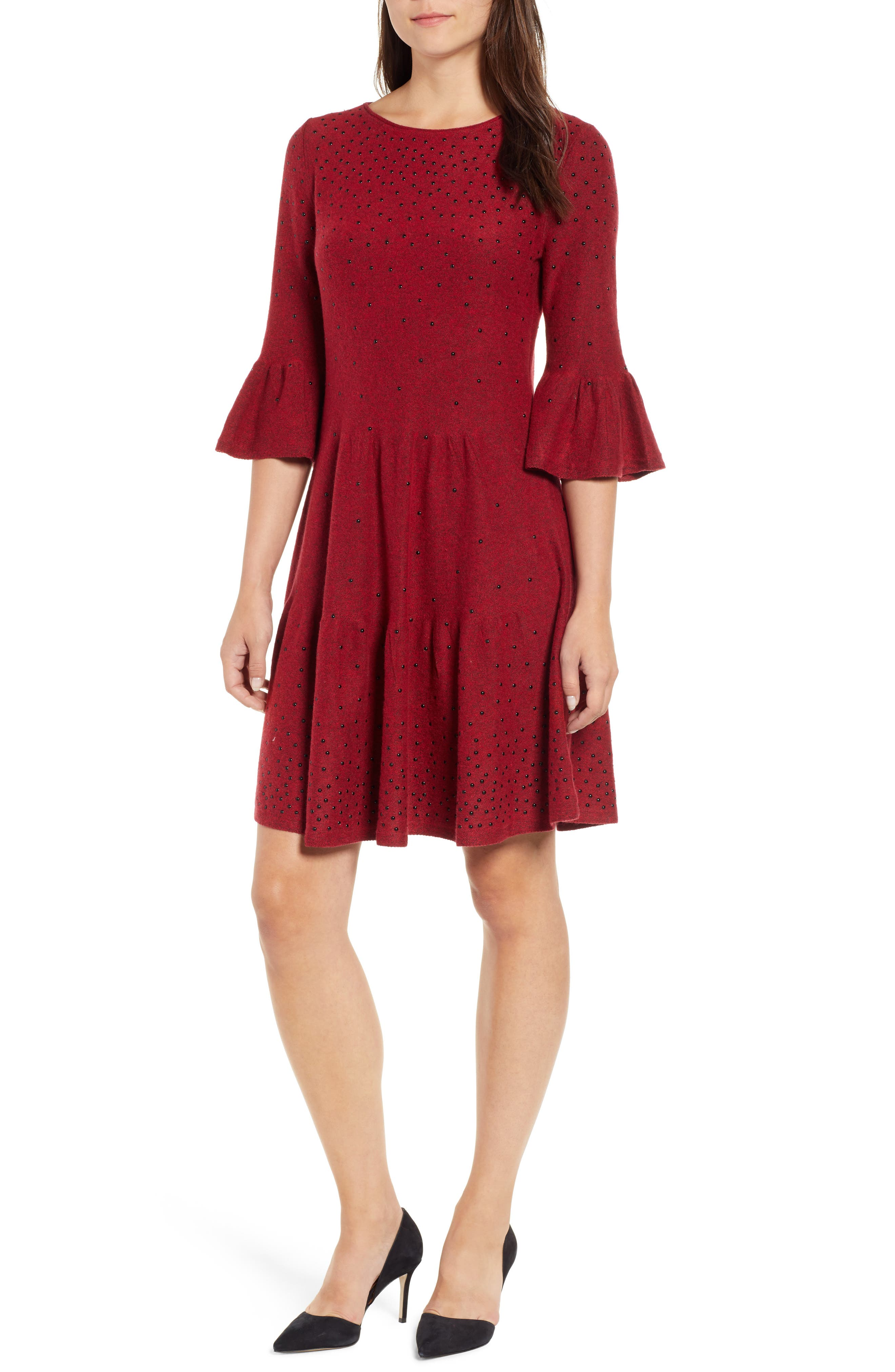 NIC AND ZOE Nic + Zoe Celestial Stud Bell Sleeve Dress in Ruby