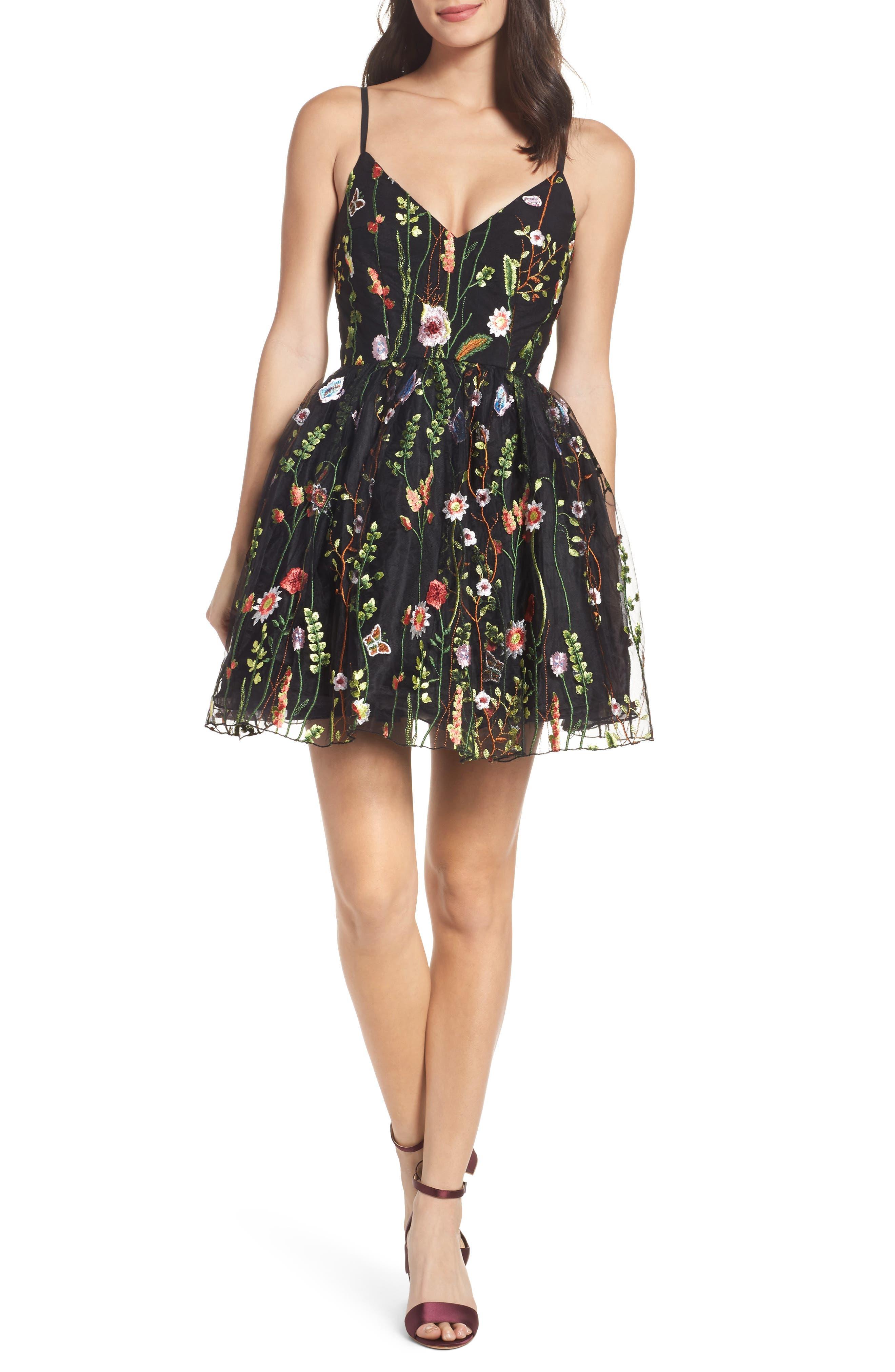 Embroidered Skater Dress,                             Main thumbnail 1, color,                             BLACK/MULTI