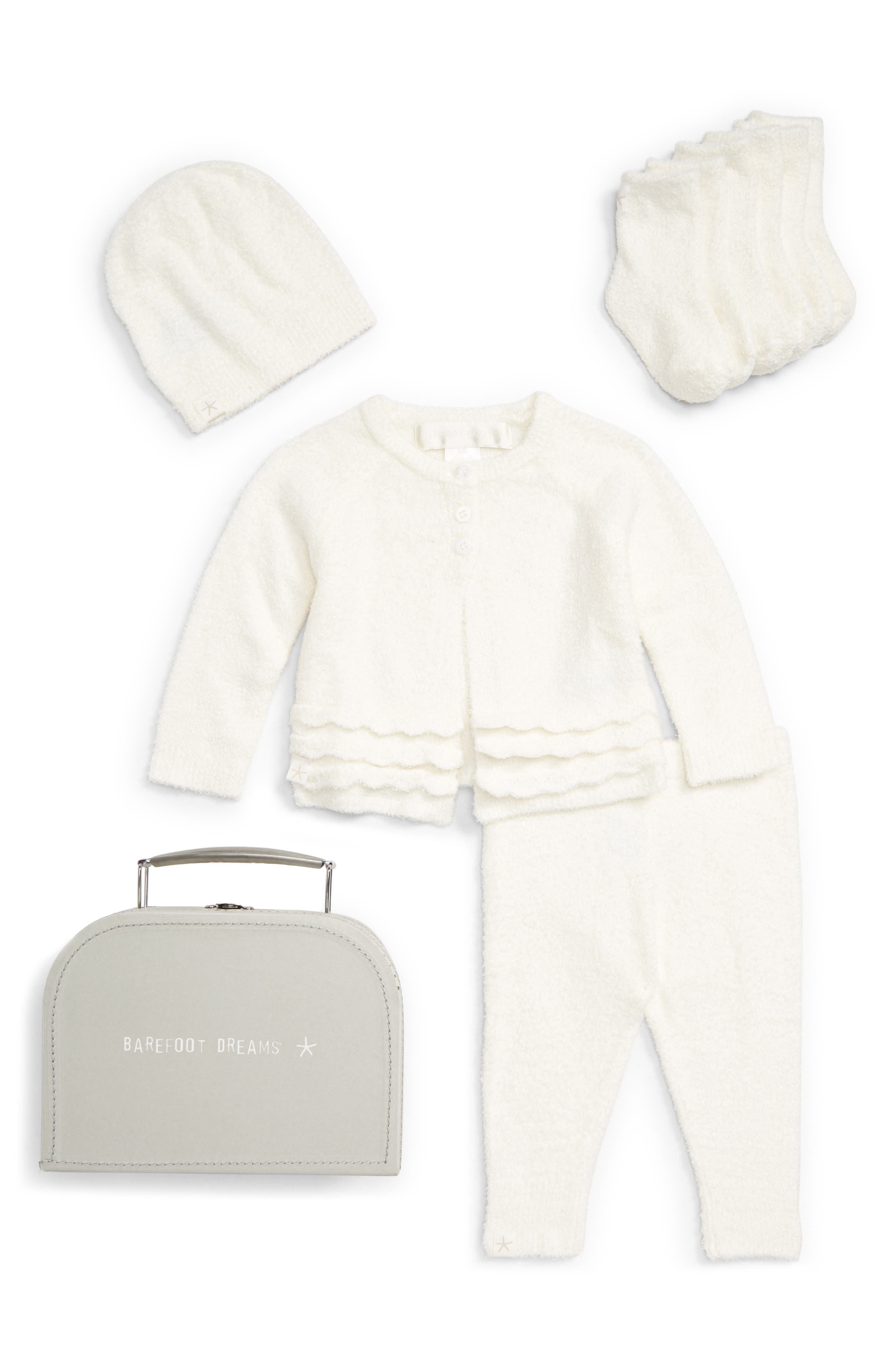 CozyChic<sup>®</sup> Lite Heirloom Cardigan, Pants, Socks, Beanie & Suitcase Set,                         Main,                         color, PEARL