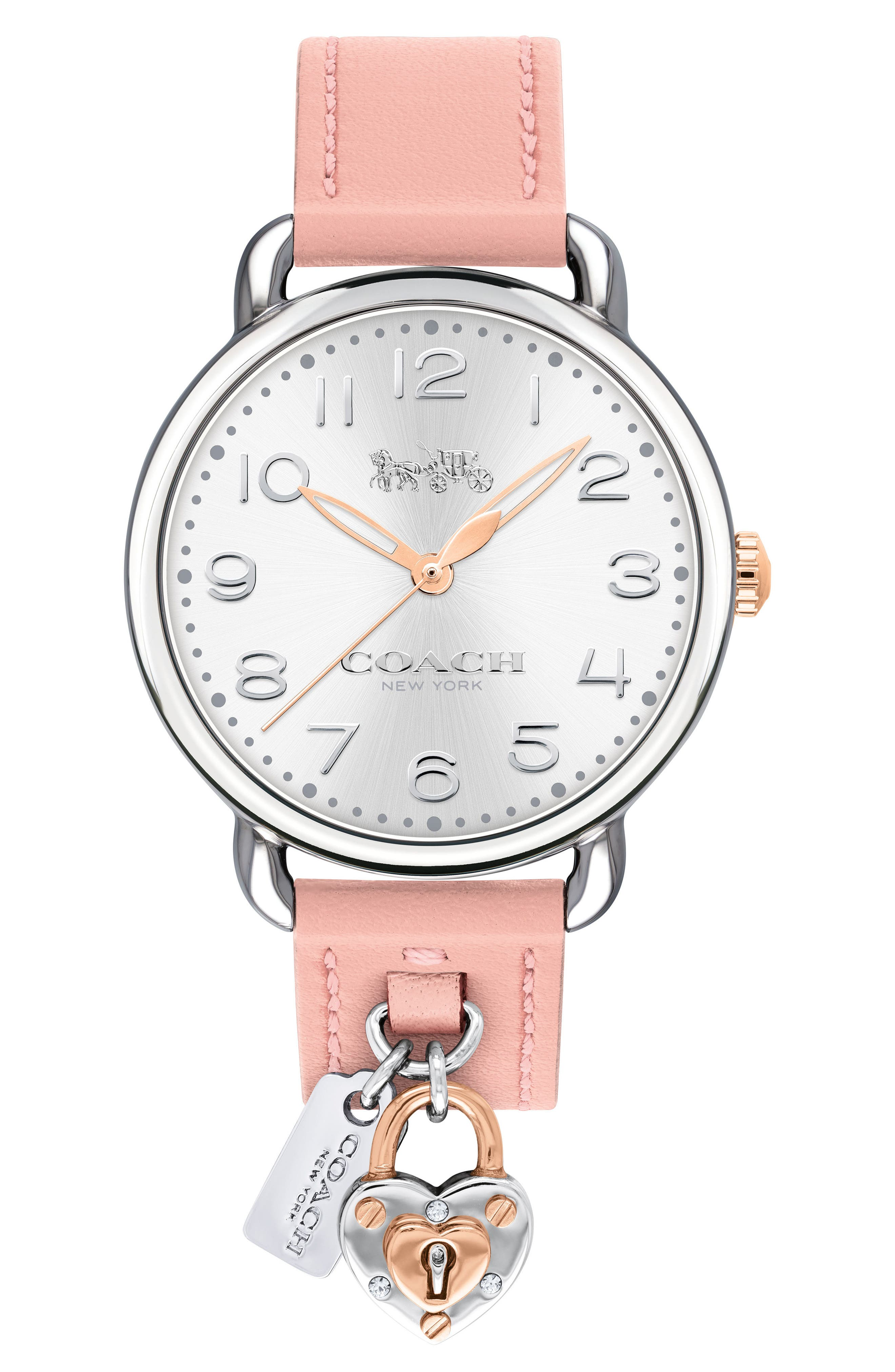 Delancey Charm Detail Leather Strap Watch, 36mm,                         Main,                         color, BLUSH/ SILVER