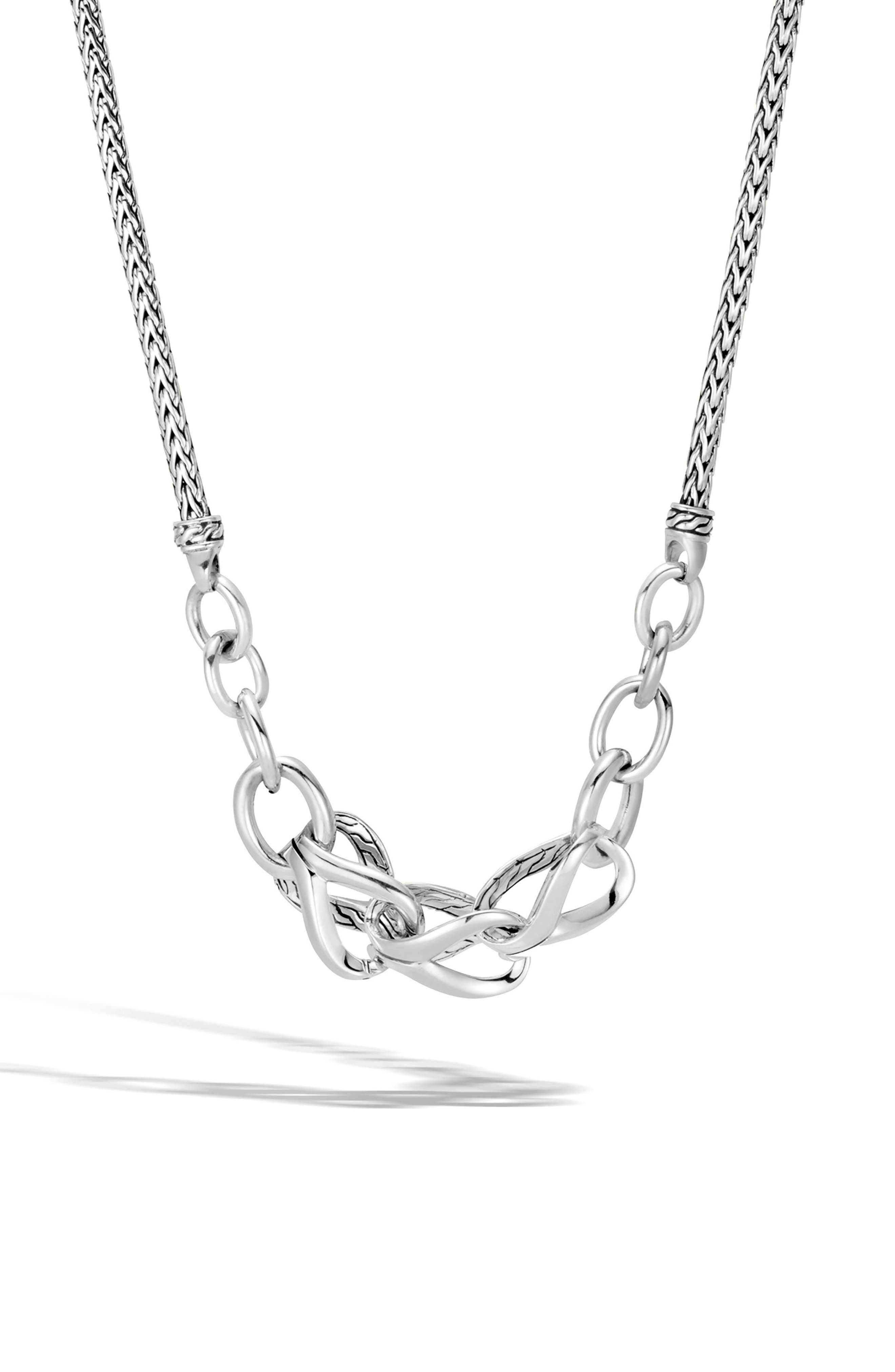Asli Classic Chain Frontal Link Necklace,                             Main thumbnail 1, color,                             SILVER