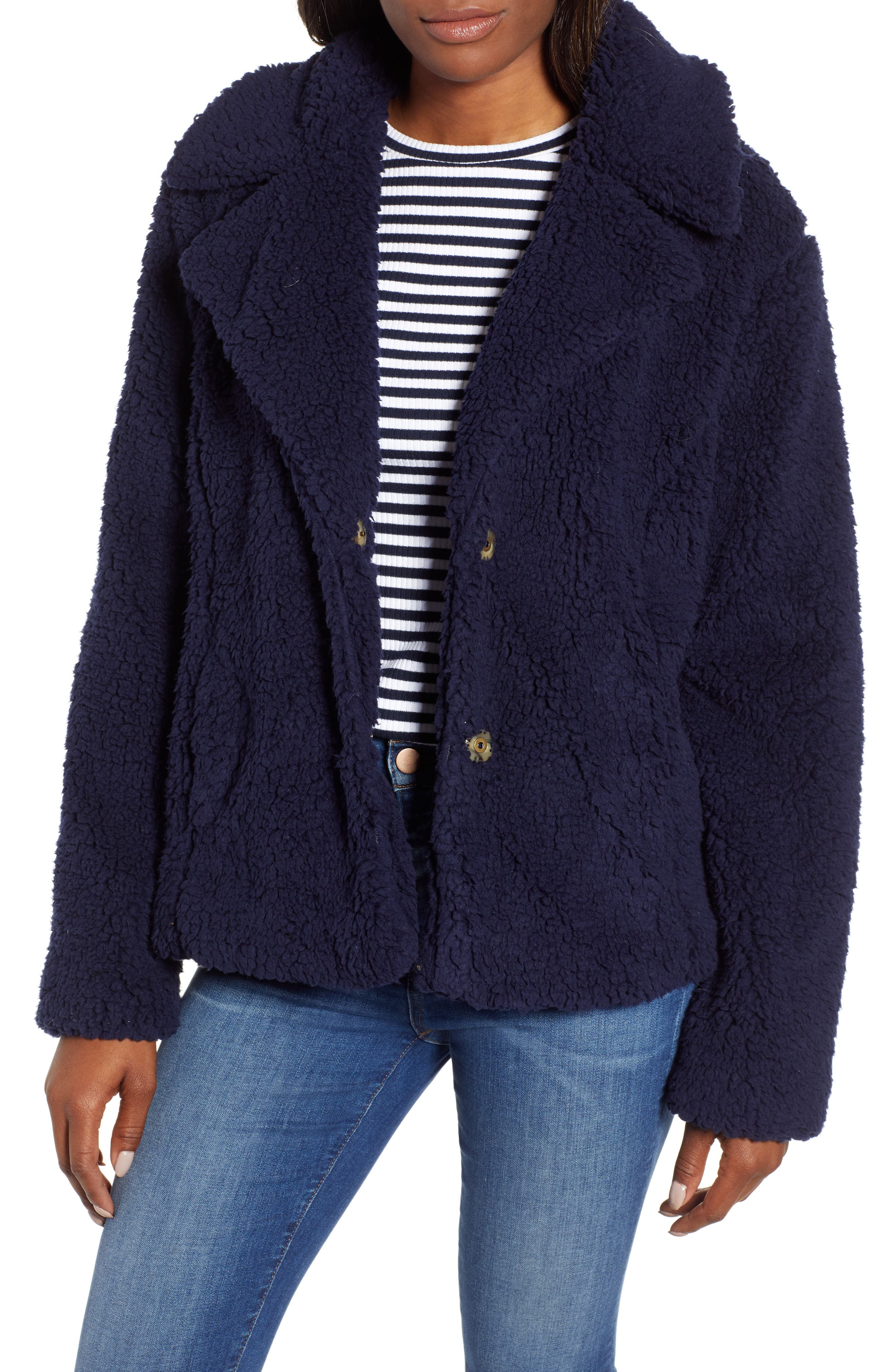 Caslon Fleece Jacket, Blue